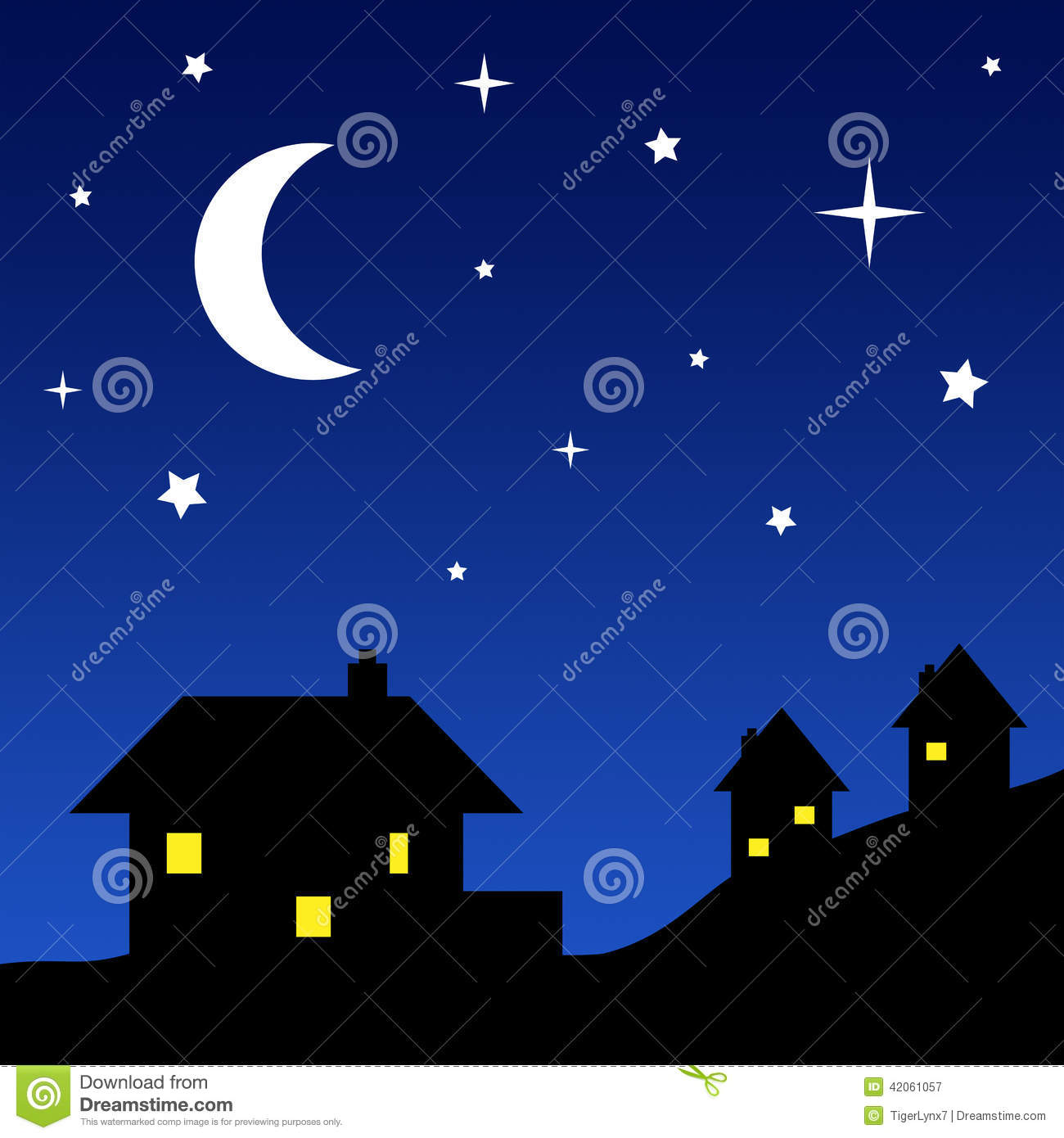 house silhouettes with starry sky stock vector full moon vector art moon vector art free