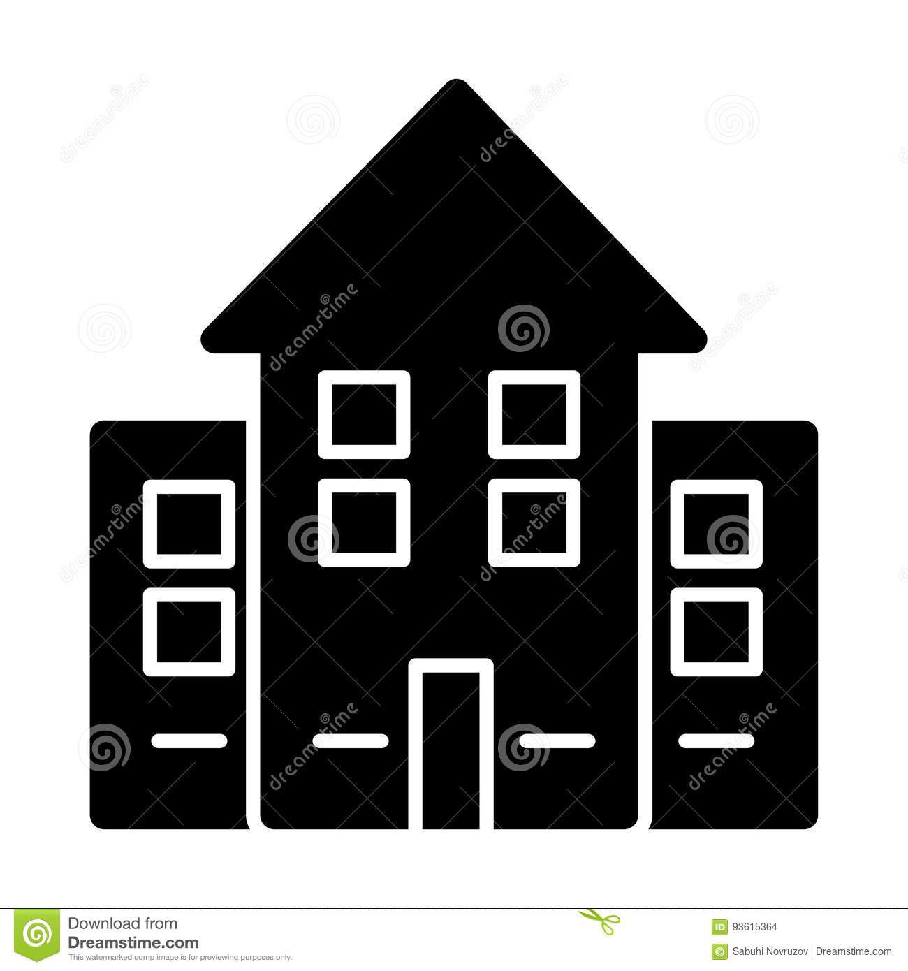 House Simple Vector Icon Black And White Illustration Of