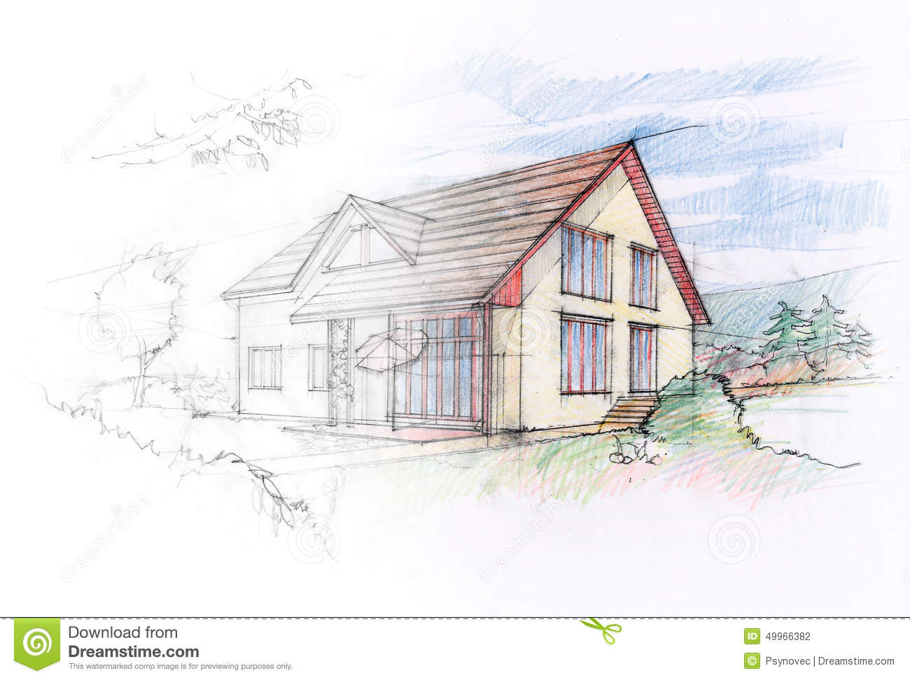 House sketch stock illustration image 49966382 for Sketch house plans free