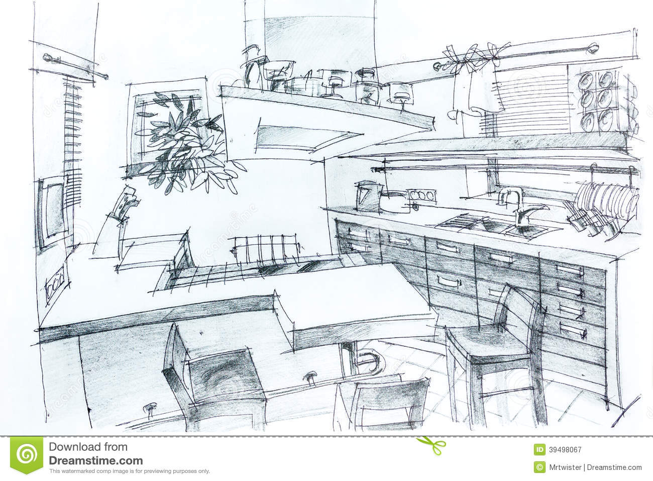 House sketch with pencil stock illustration image 39498067 for Interior designs kitchen sketches