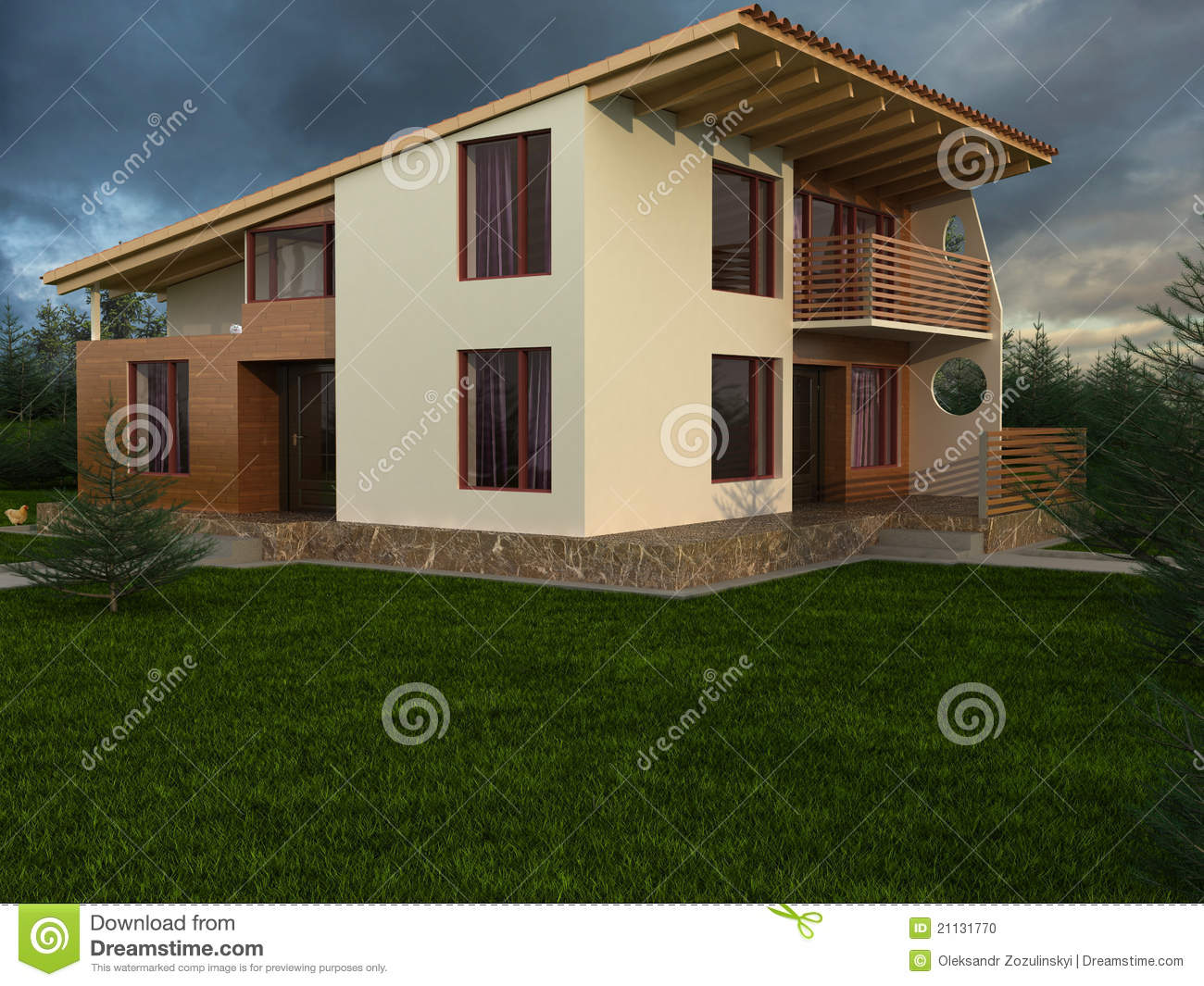 he House With Sloping oof Stock Photo - Image: 21131770 - ^