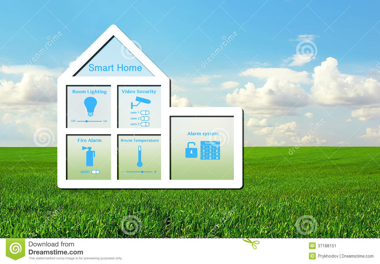 House With A Smart Home System On A Background Of Green