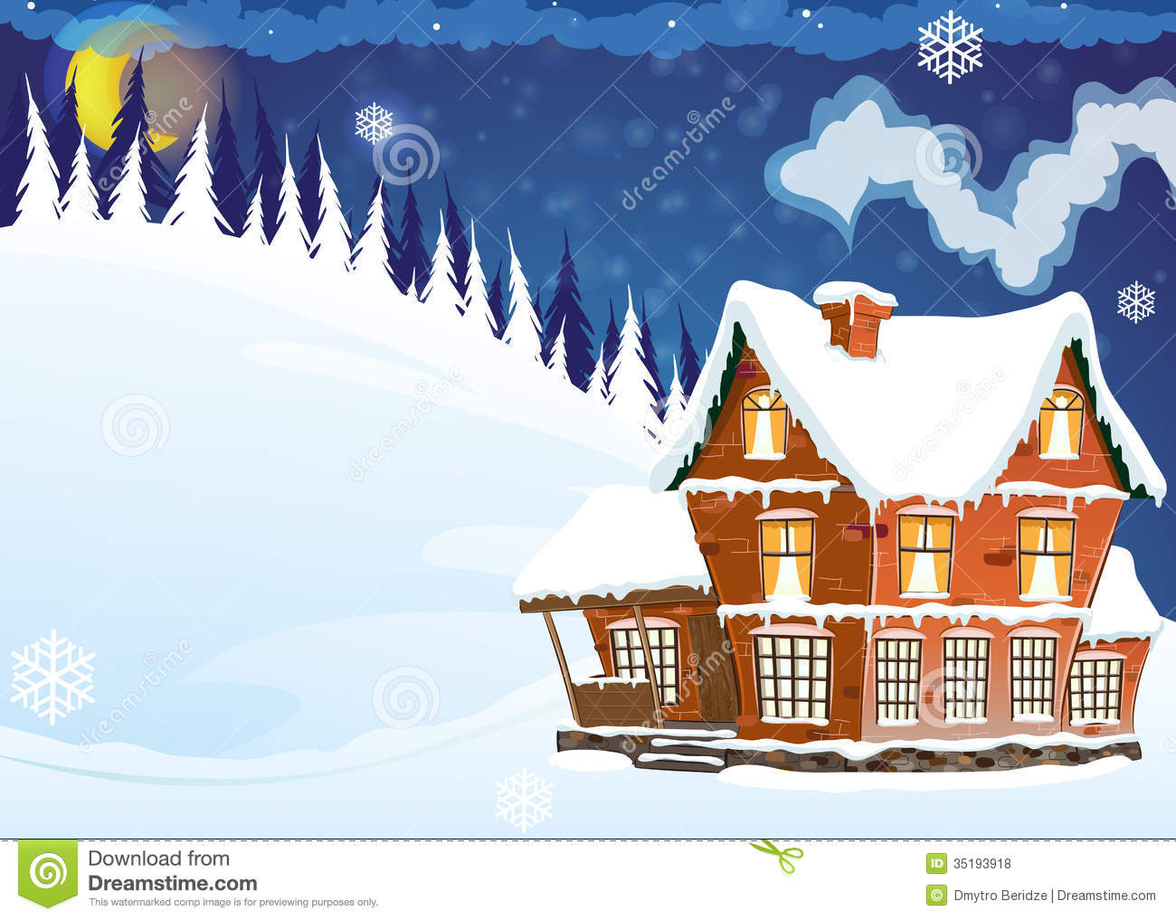 House With A Snow Covered Roof