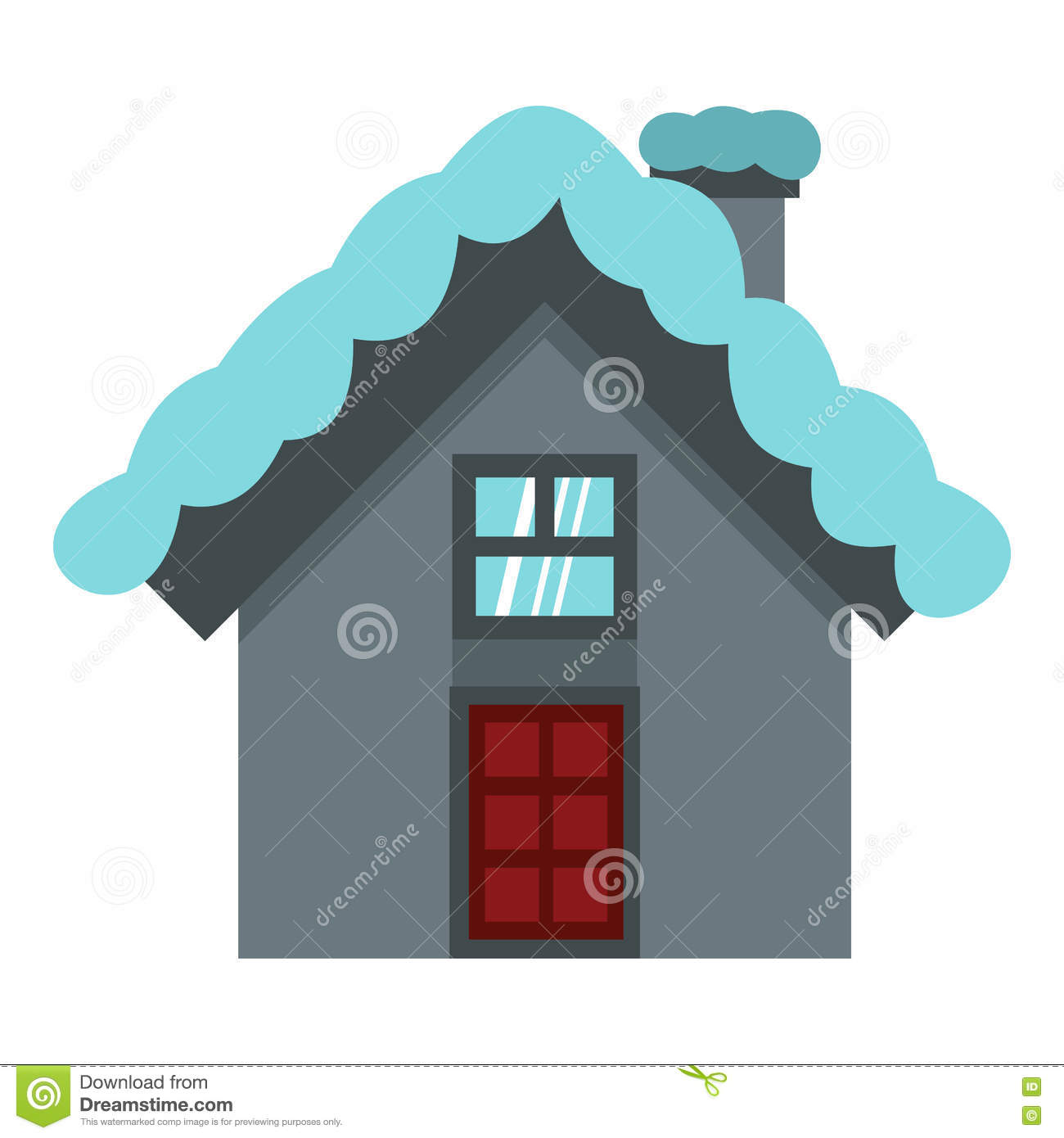 House with snow on roof icon flat style