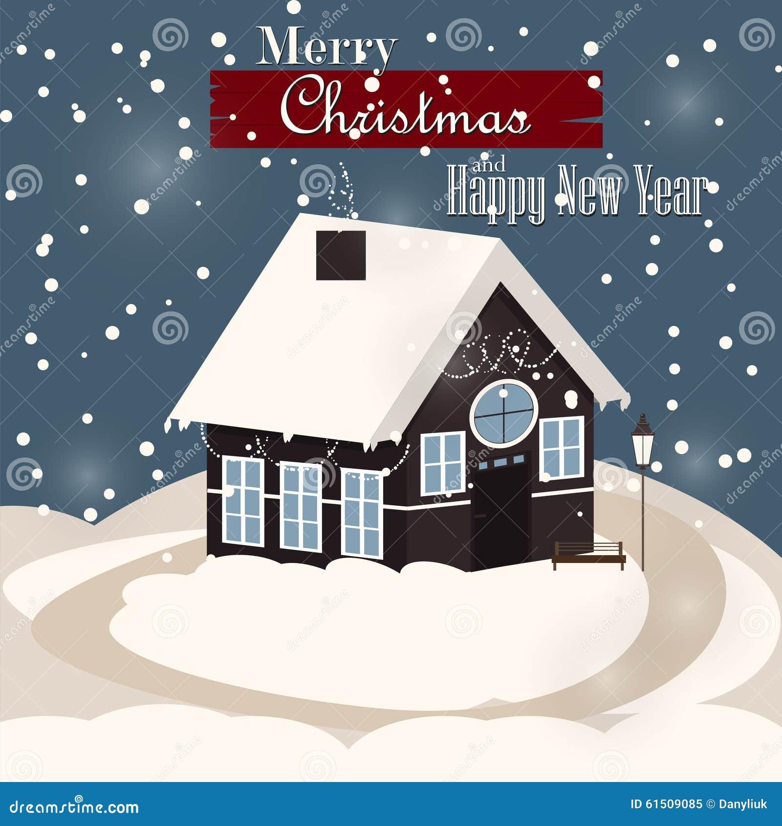 House In Snowfall Christmas Greeting Card Stock Vector