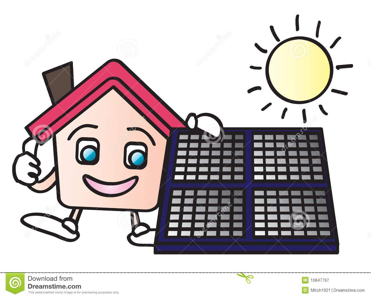 ... cartoon character holding a solar panels isolated on white background