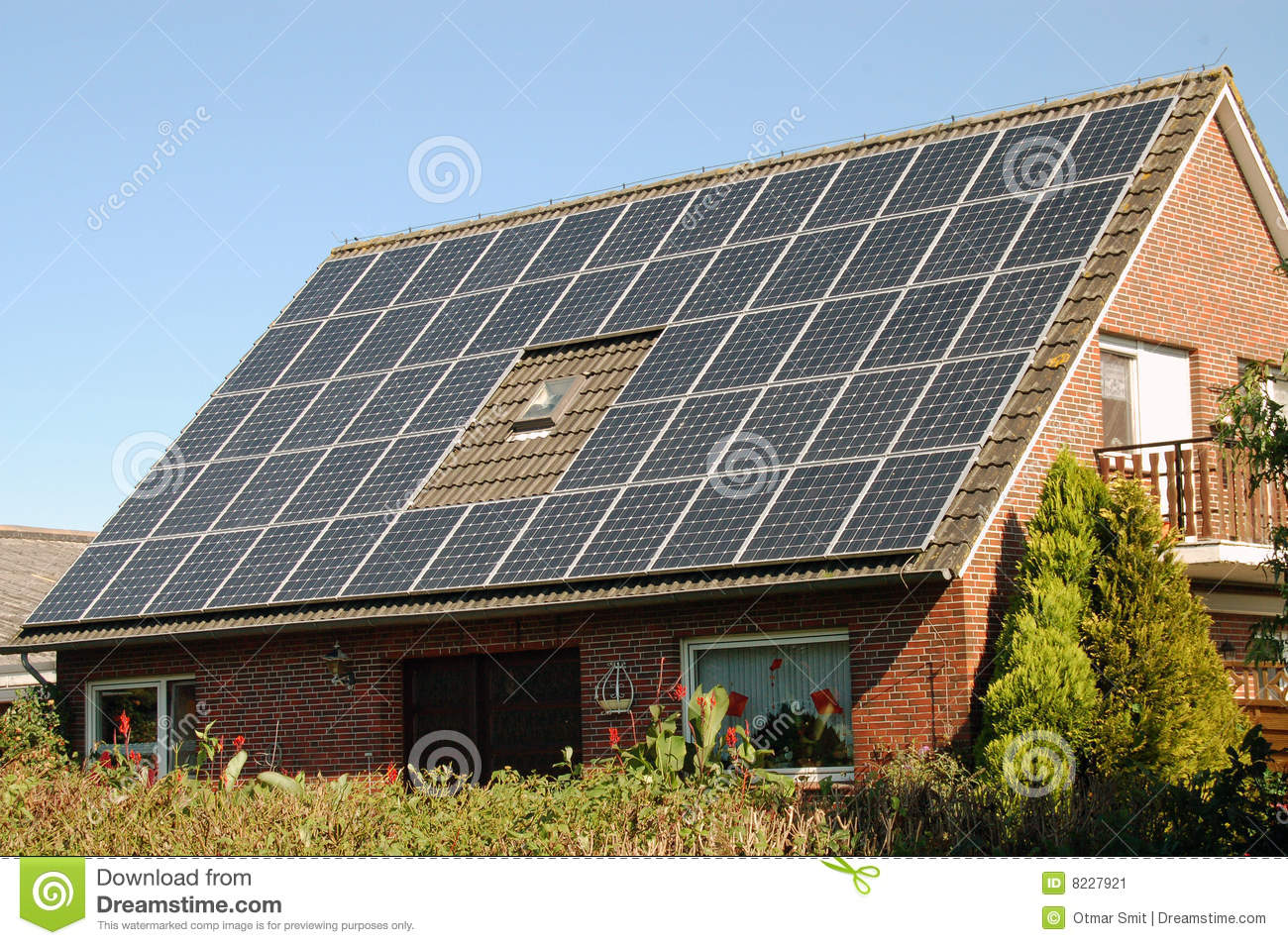 House With Solar Panel Stock Image Image 8227921