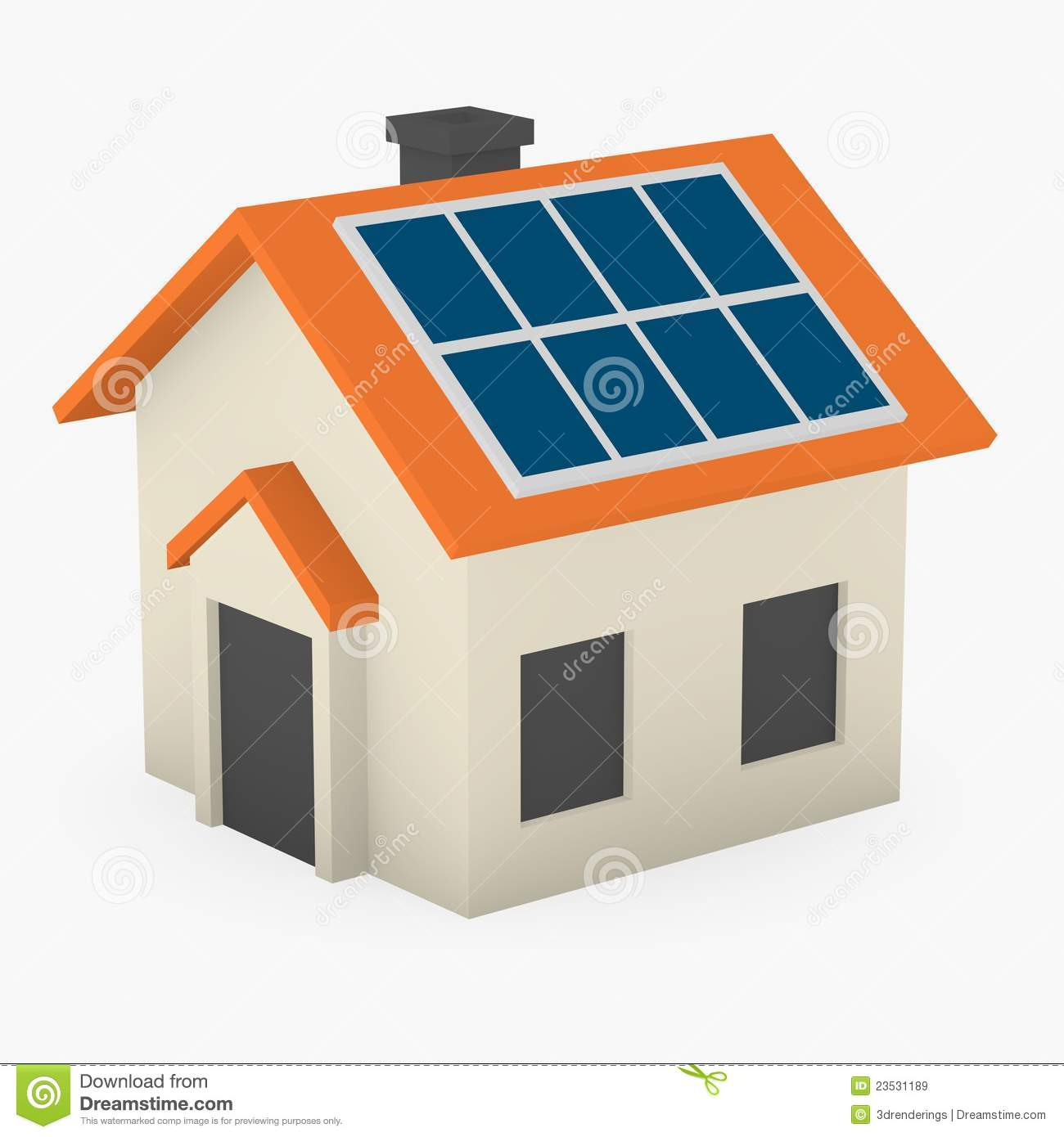 House With Solar Panels Stock Illustration. Image Of Power