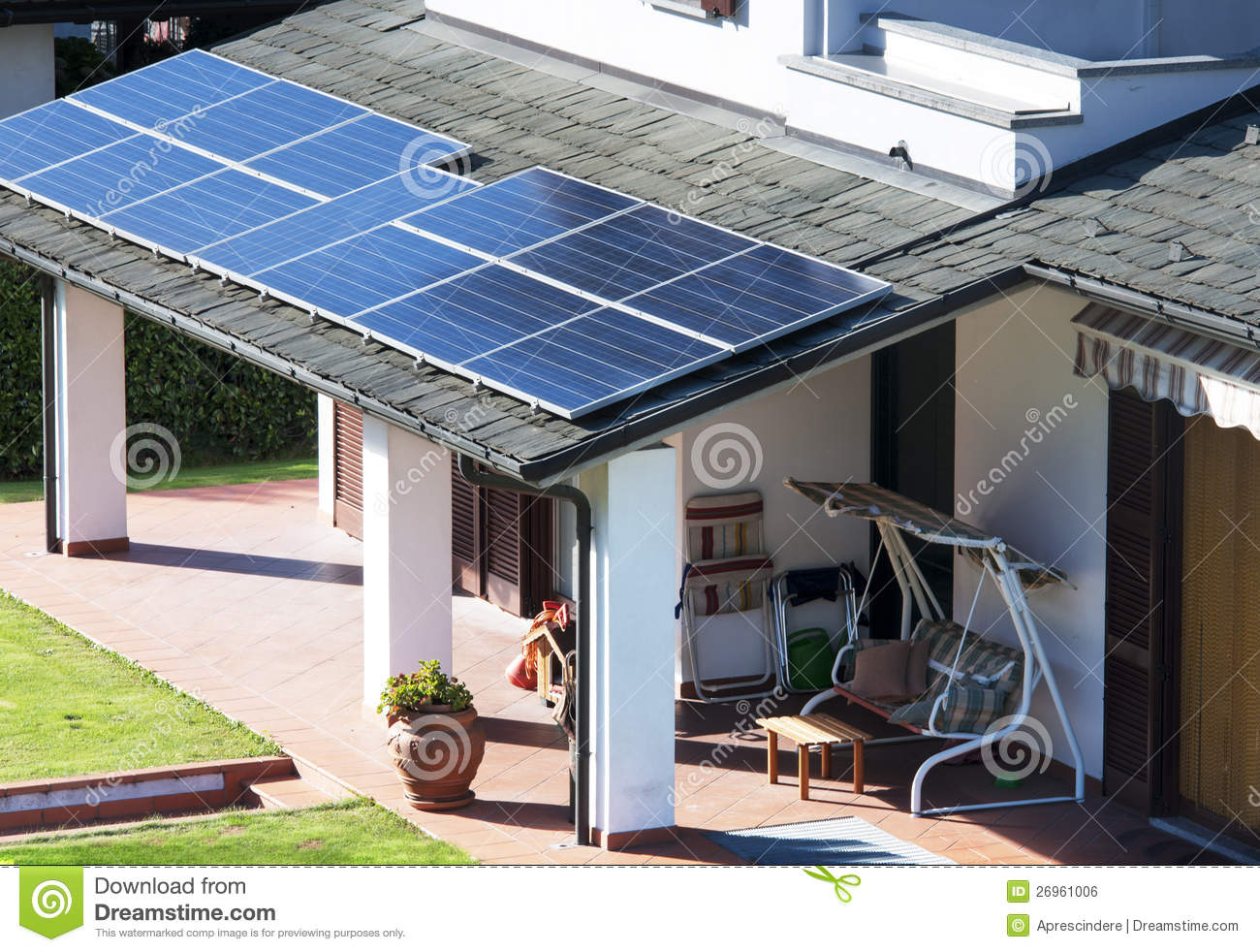 House with solar panels - House With Solar Panels Stock Photo. Image Of Charge - 26961006