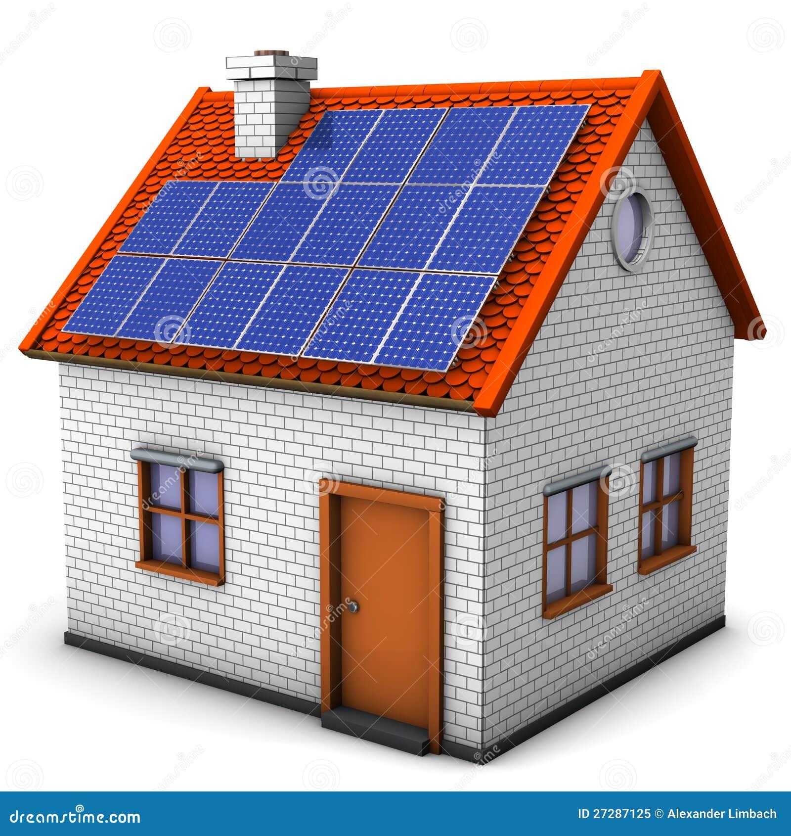 House Solar Panels Stock Illustration. Illustration Of