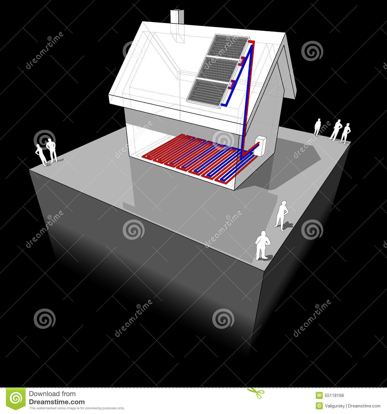 House With Solar Panels Diagram Stock Vector Illustration Of Panel Download Heating Home 55118168