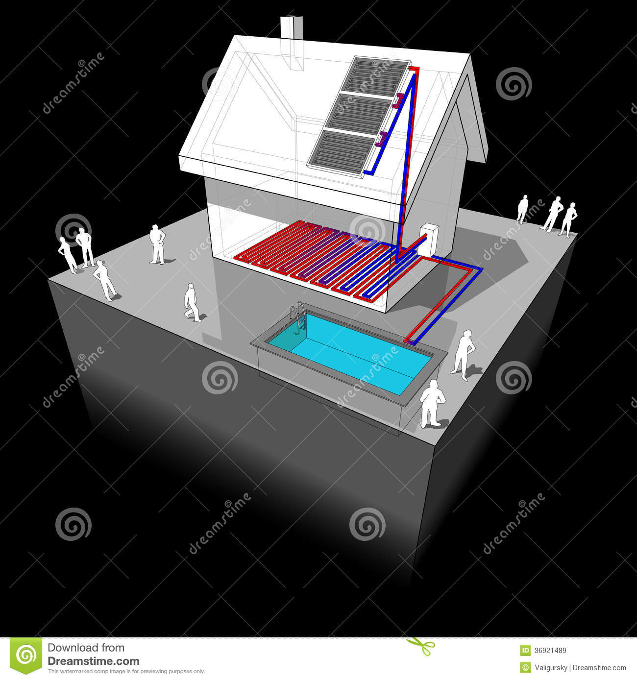 House With Solar Panels Diagram Stock Vector Image 36921489