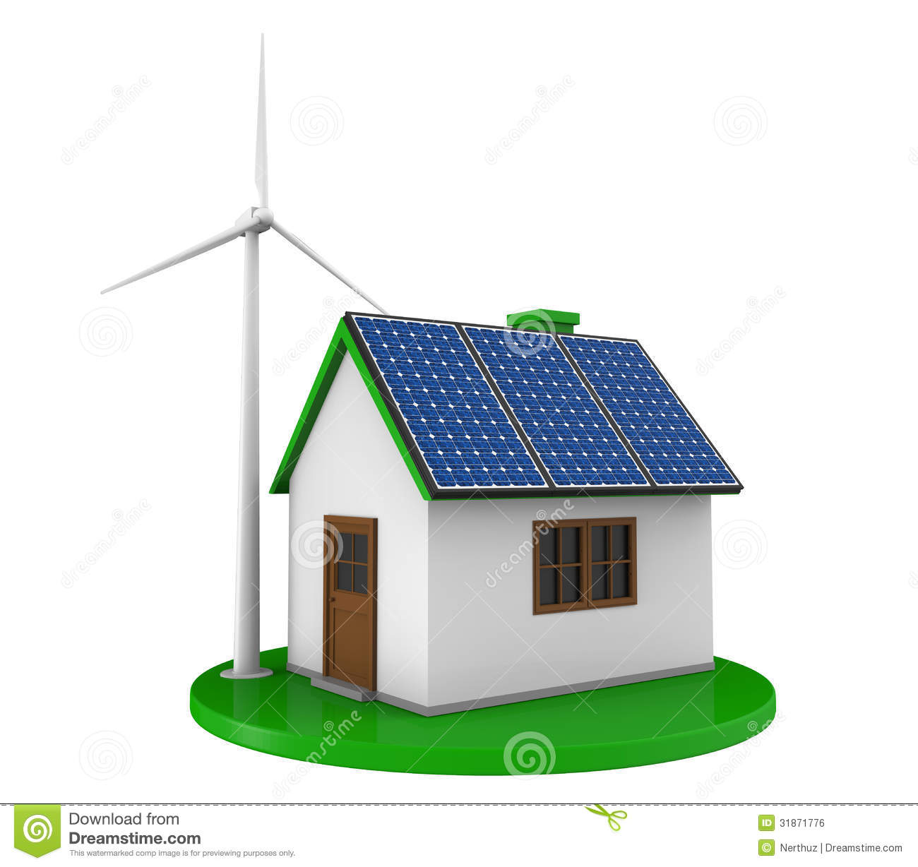 House With Solar Panels And Wind Turbine Royalty Free Stock Image ...