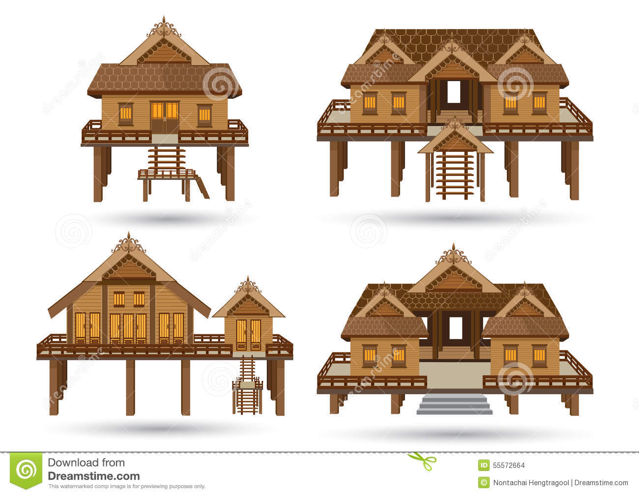 Wood House Elevation : House of southern thailand stock vector illustration