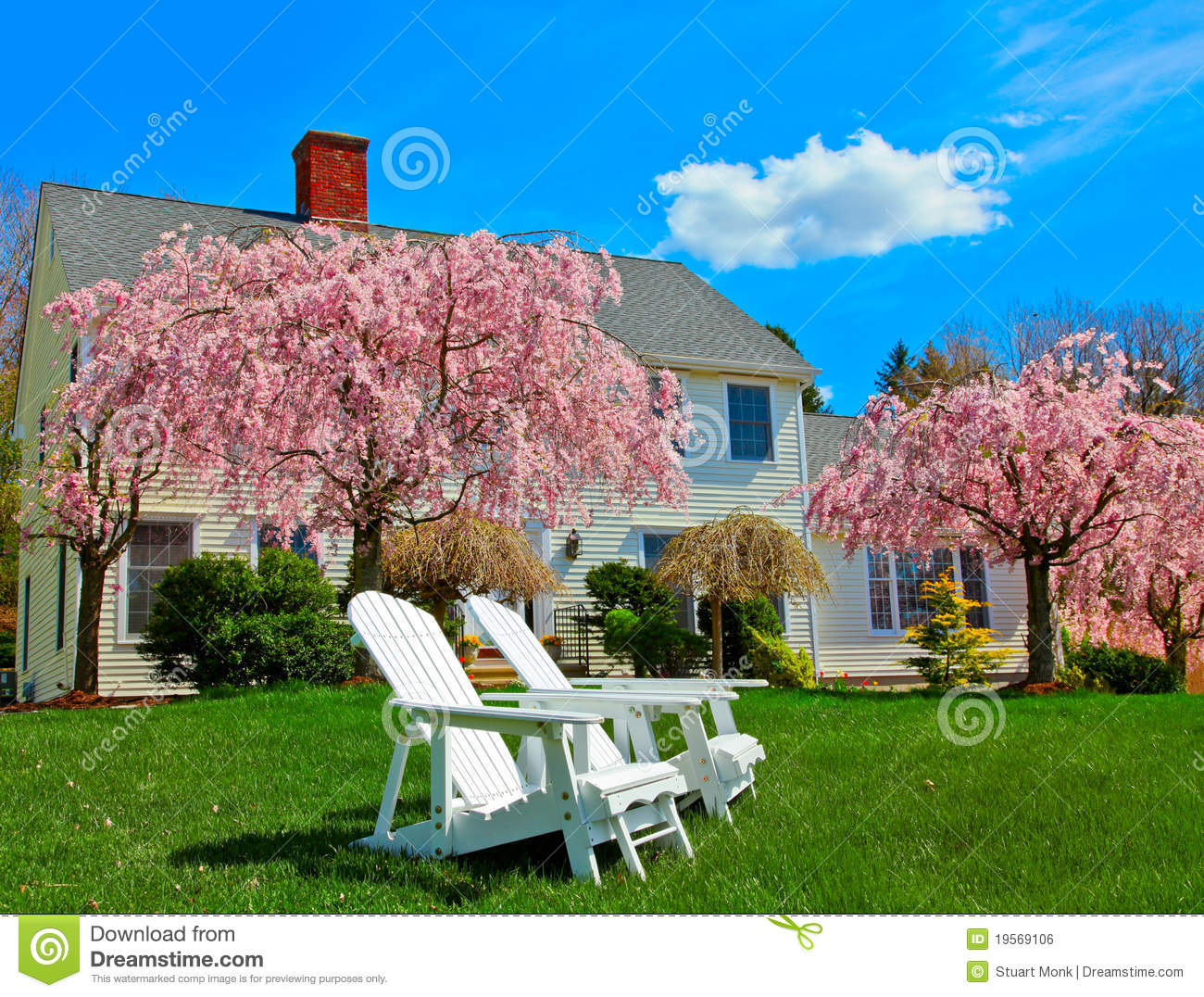 Sitting on grass in front of generic colonial style new england house