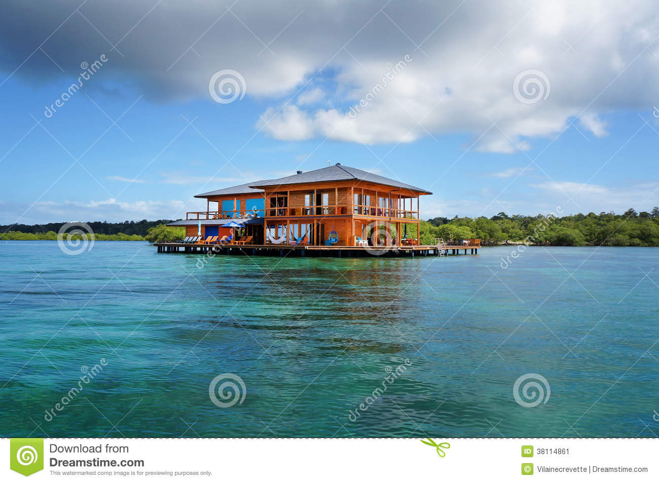 House On Stilts Over Water Of The Caribbean Sea Stock