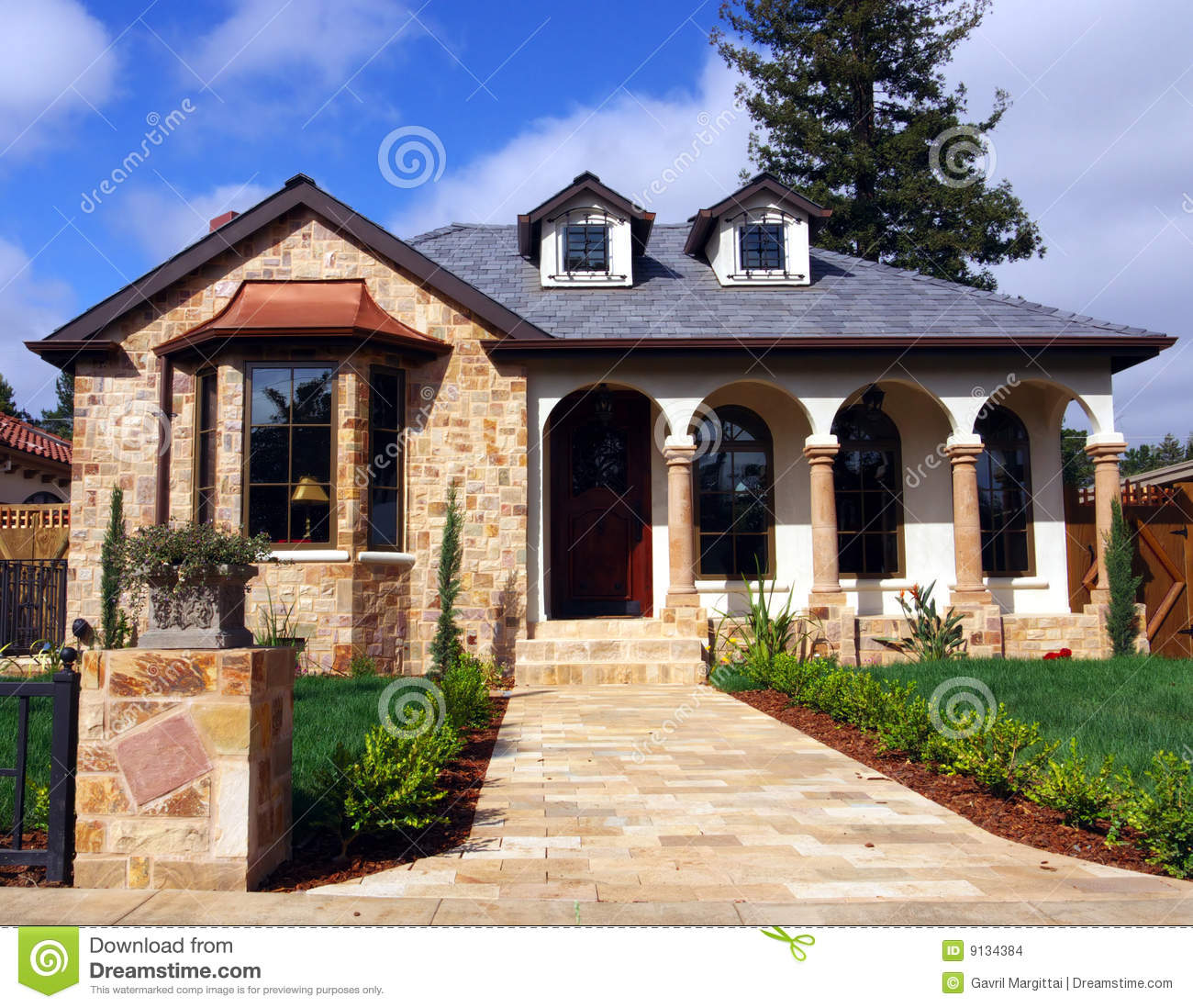 house with stone facade stock photo image of door grass. Black Bedroom Furniture Sets. Home Design Ideas