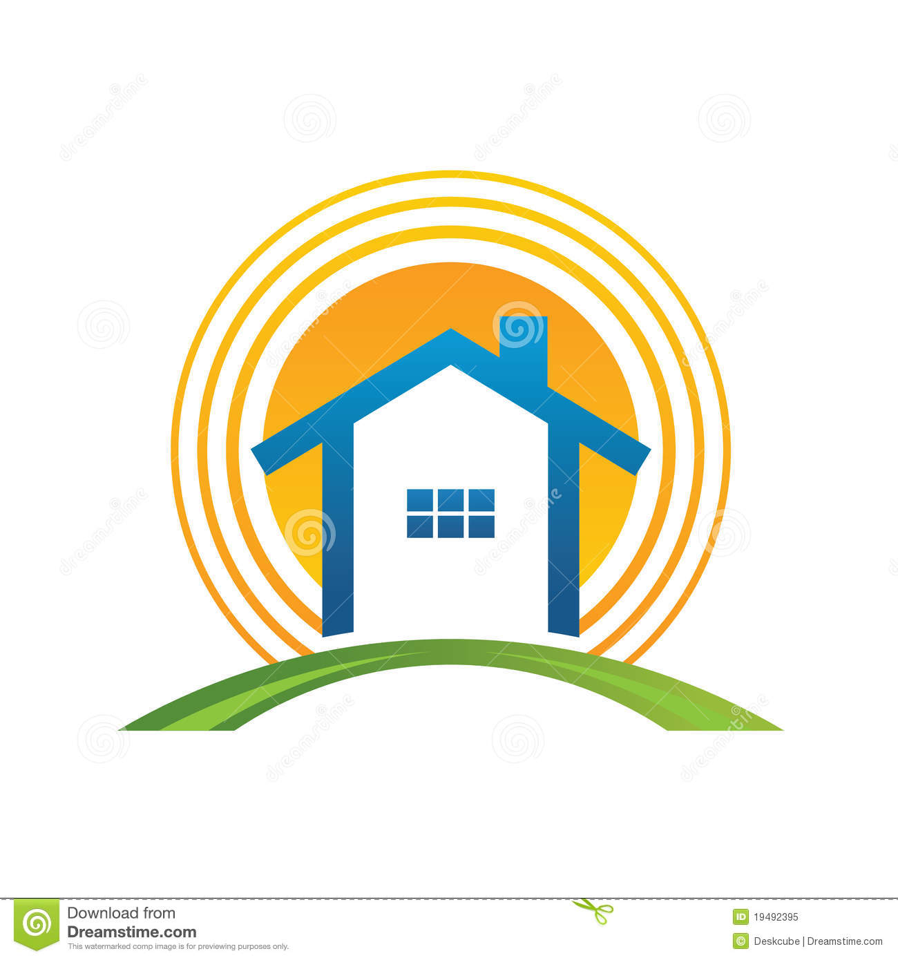 House With Sun Stock Vector. Illustration Of Architecture