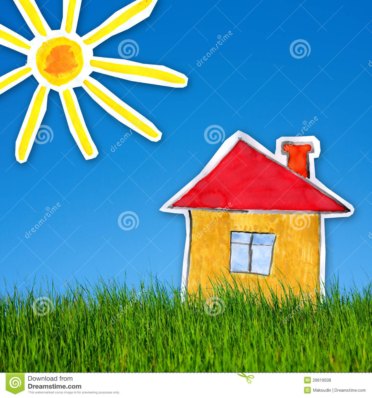 House and sun on the background of green grass and blue for The sunhouse