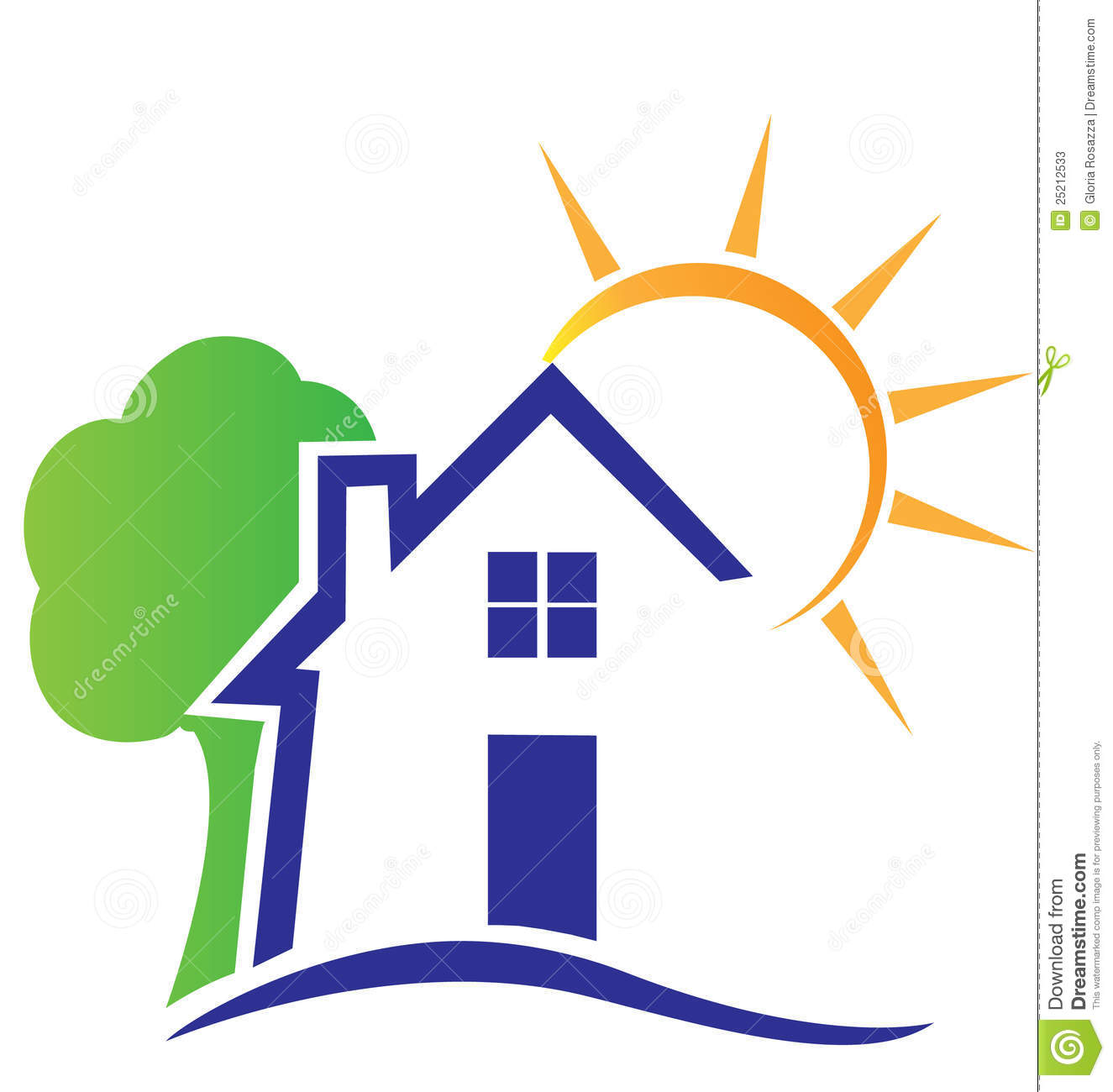 House Sun And Tree Logo Stock Vector. Illustration Of