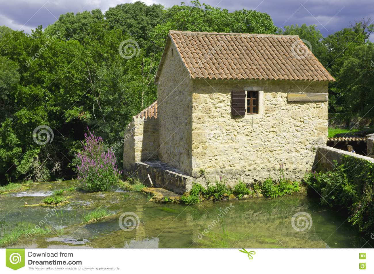 The House Is Surrounded By Water Royalty Free Stock Image