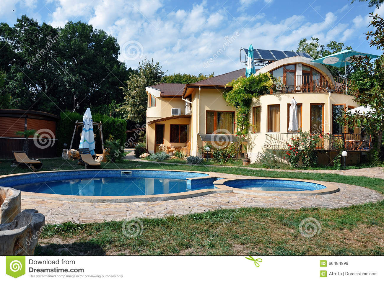 House with swimming pool stock image image of building for Pool and garden house plans