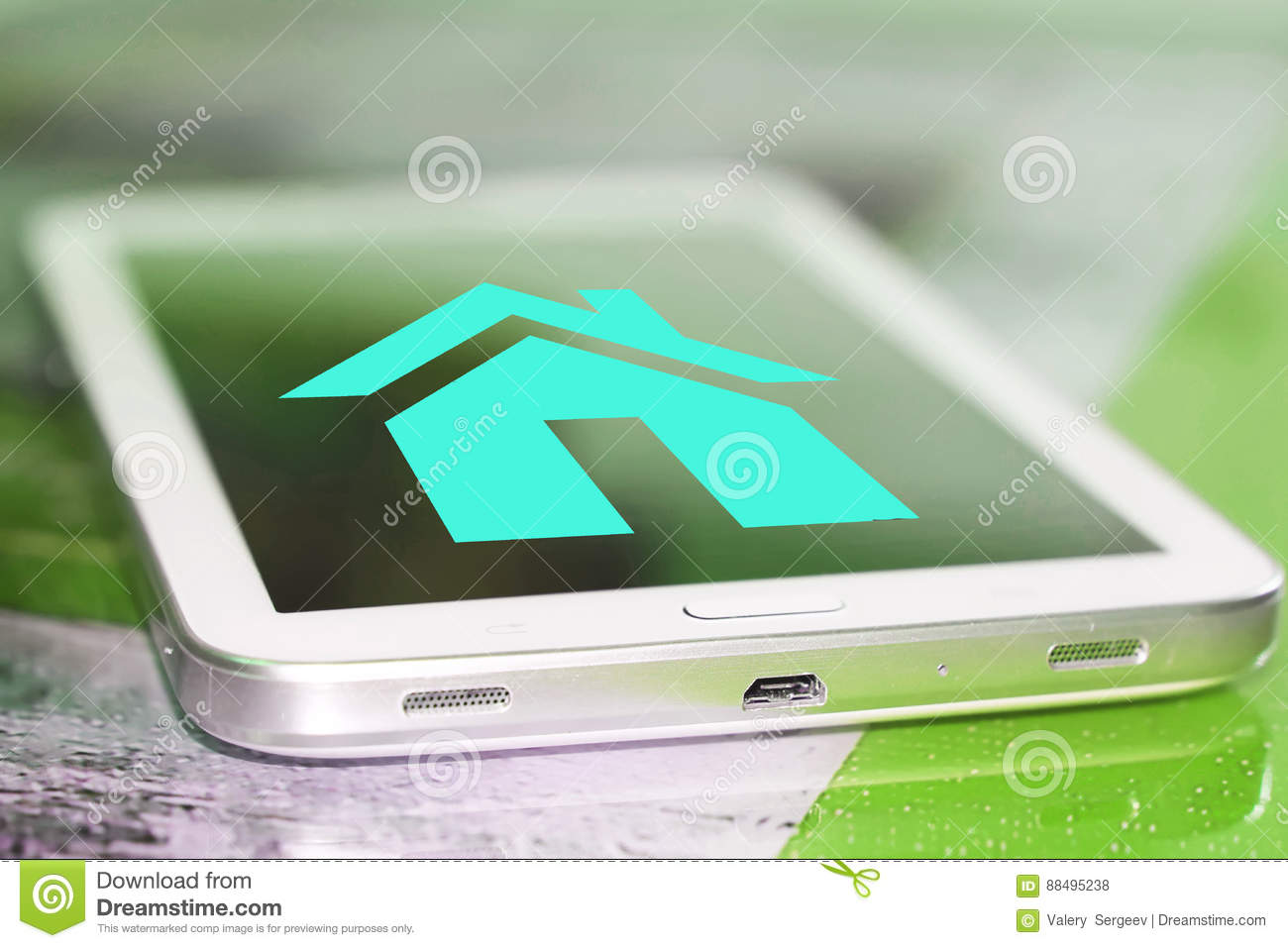 A House Symbol On The Cell Phone Screen Stock Photo Image Of