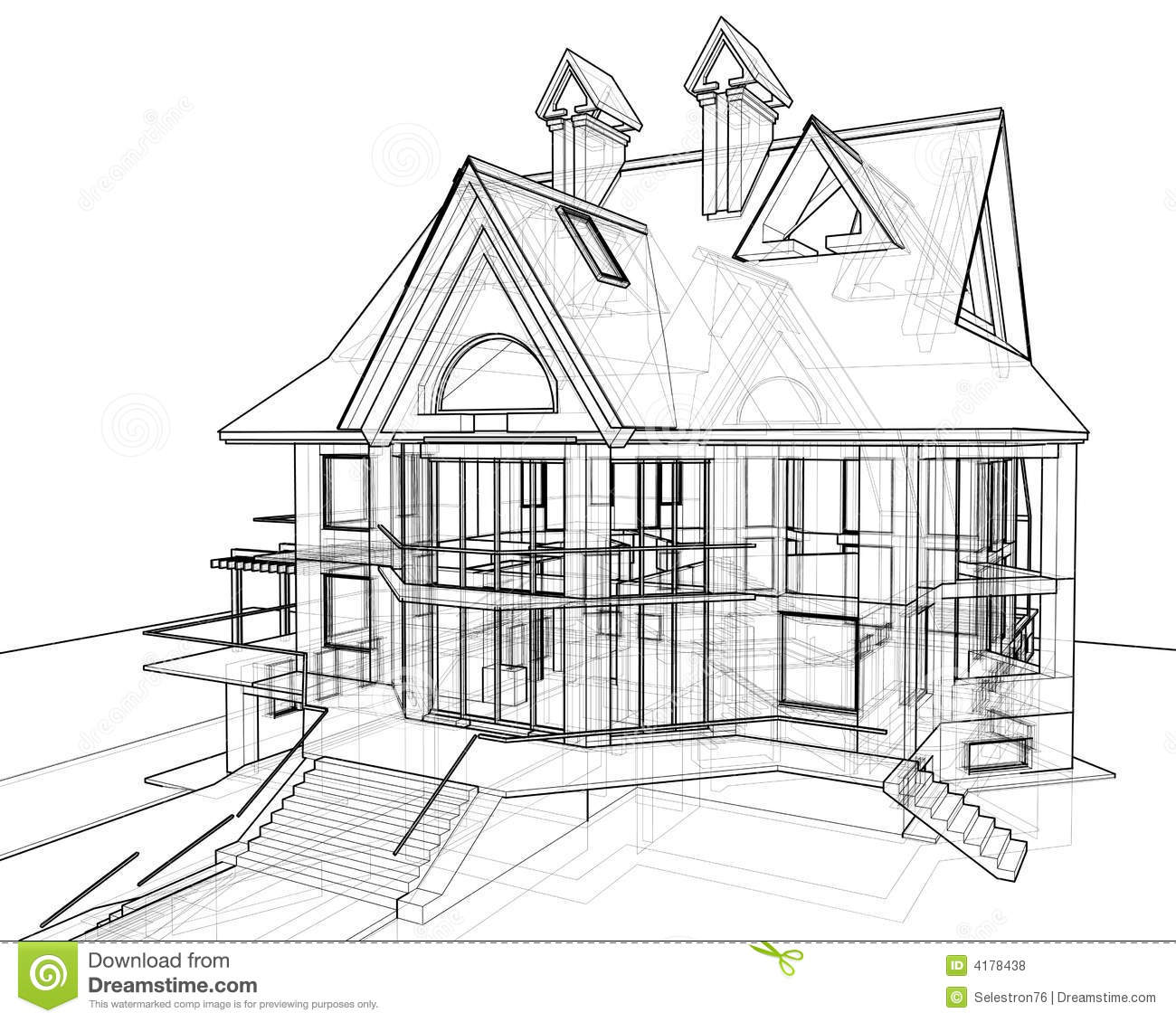House technical draw stock illustration illustration of for How to draw house blueprints
