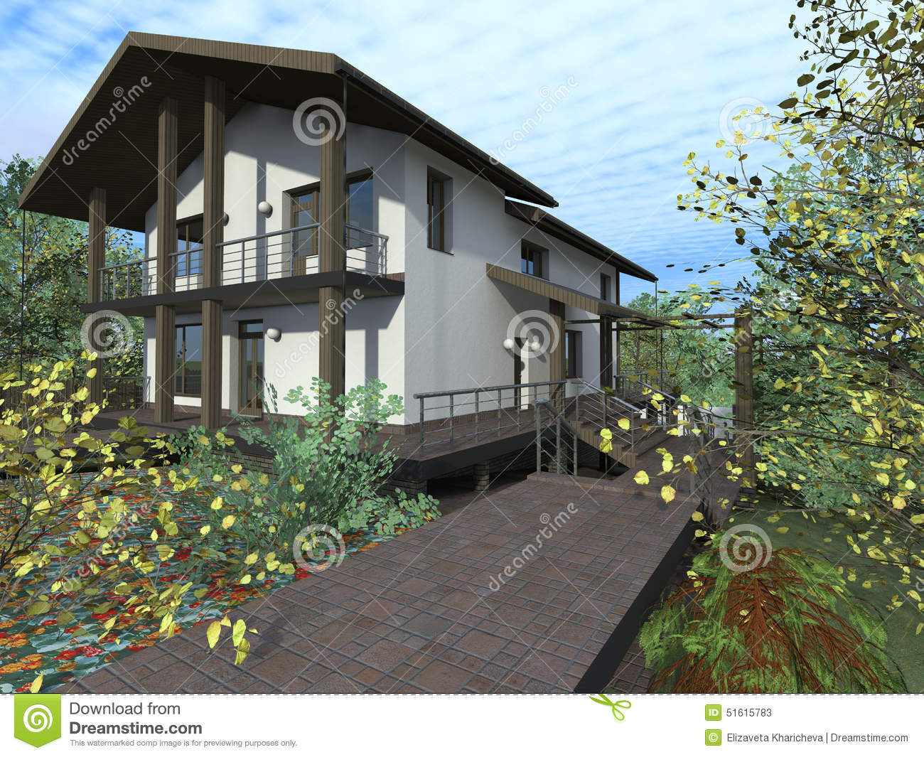 House with terrace and balcony stock illustration image for Balcony terrace