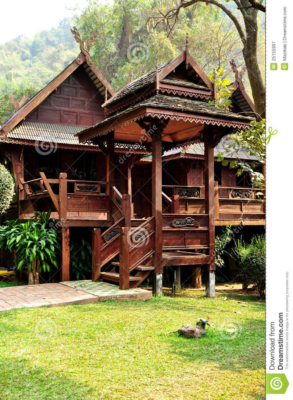 House Of Thai Lanna Style Royalty Free Stock Photography - Image ...