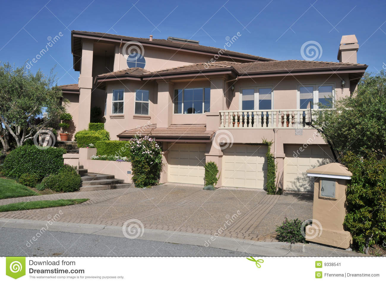House with three car garage two stories stock image for 3 car garage home