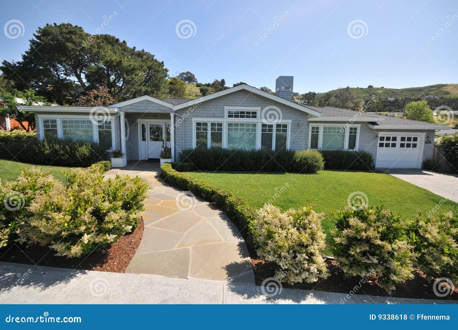 House With Tile Walkway To Front Door Stock Photo Image
