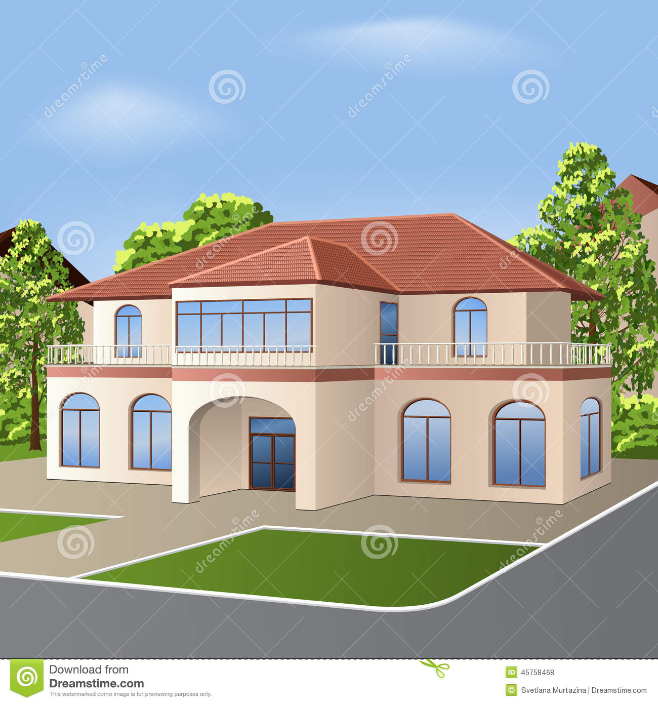 House with a tiled roof windows and entrance stock vector image 45758468 - Houses roof windows ...