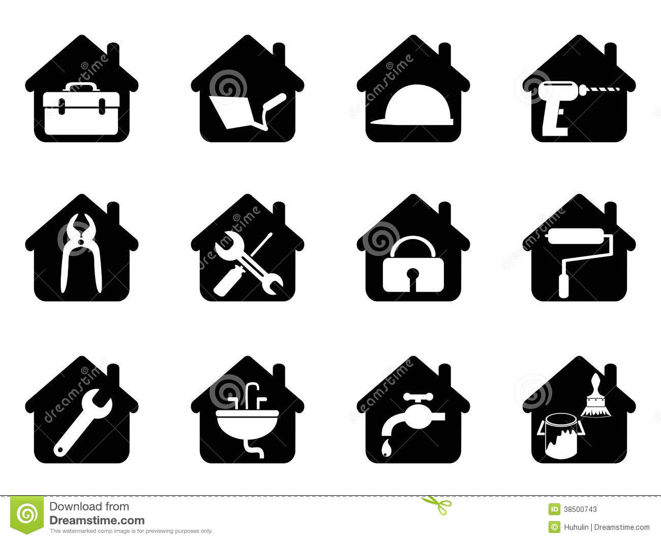 Stock Photos House Tools Icon Isolated Black White Background Image38500743 on power wash house clip art