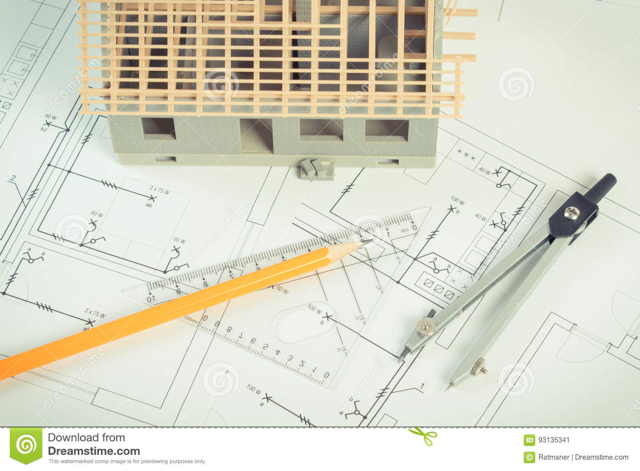 house under construction and accessories for drawing on electrical rh dreamstime com  electrical drawing project