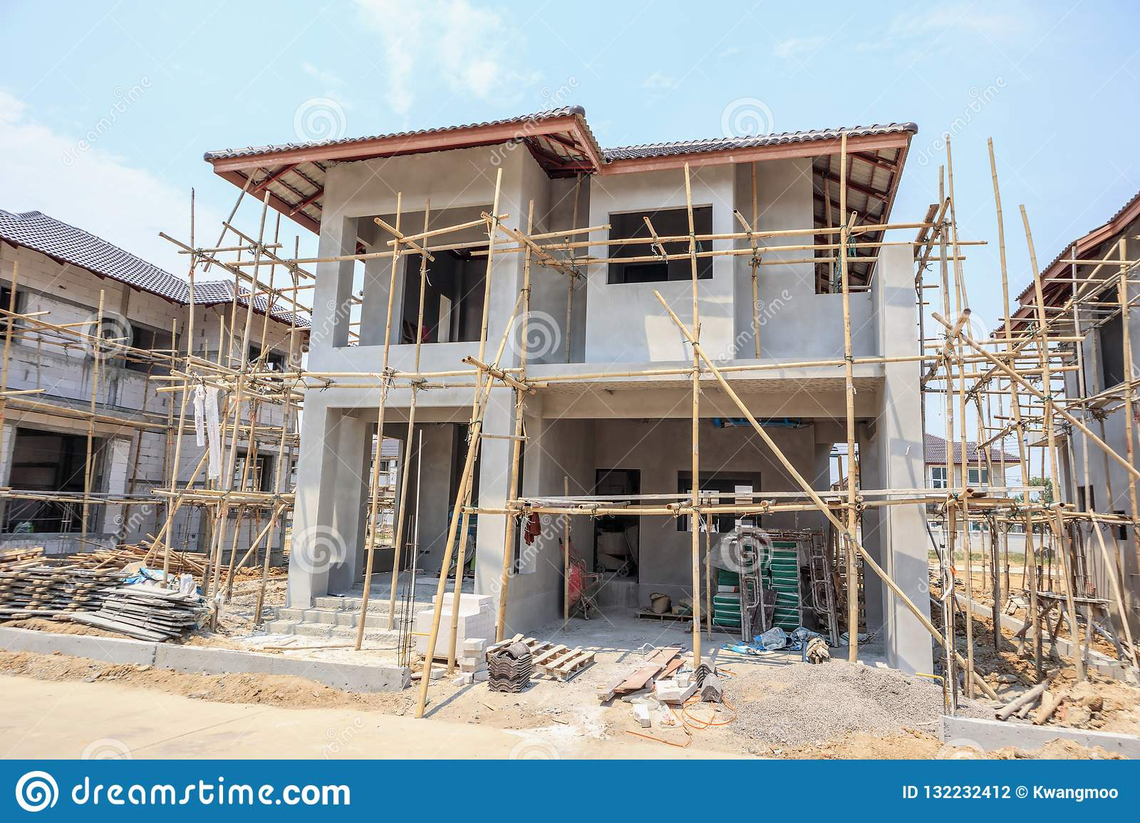 House Under Construction With Autoclaved Aerated Concrete Block Stock Photo Image Of Contractor Autoclaved 132232412