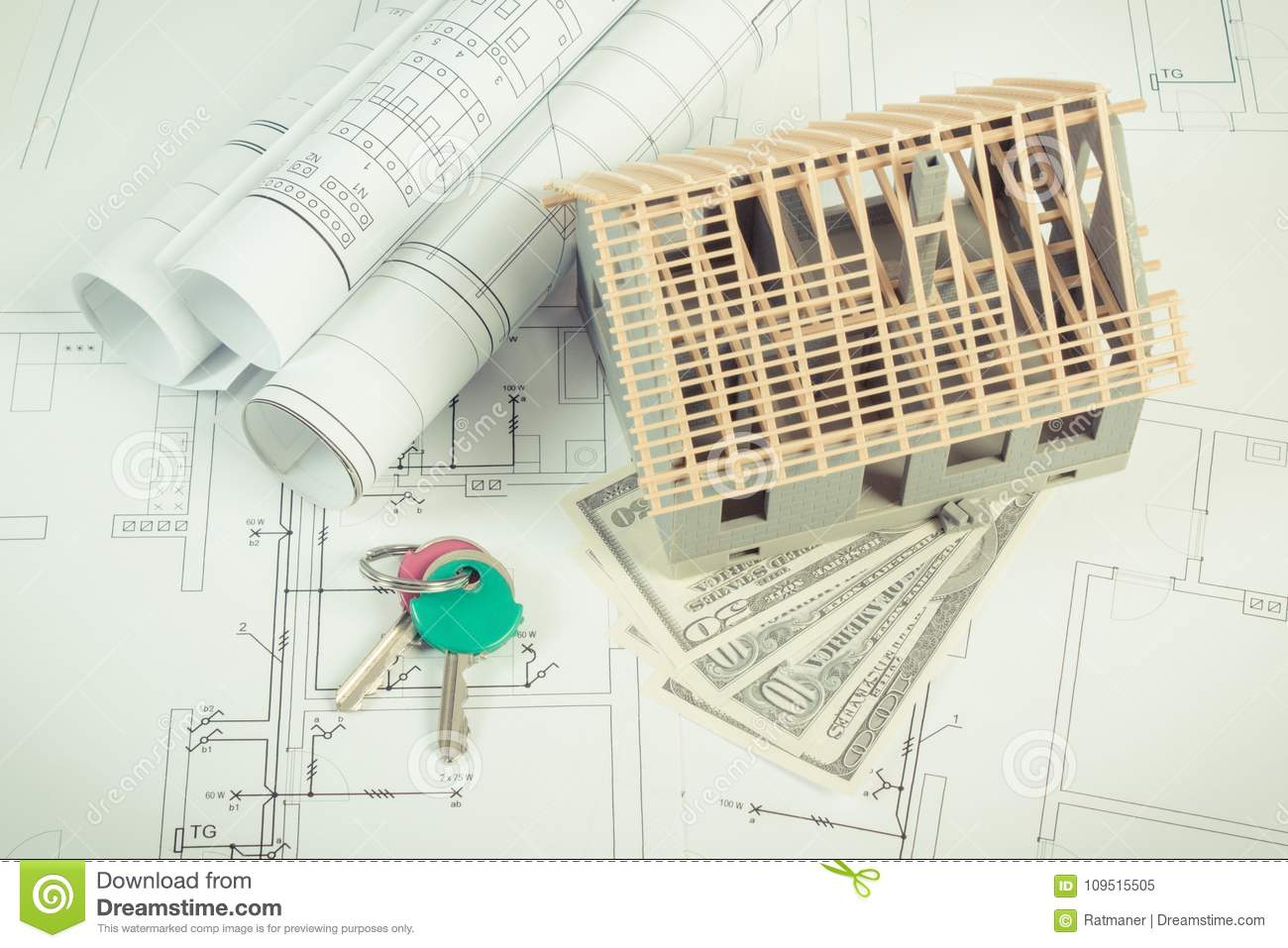 House Under Construction Currencies Dollar And Keys On Electrical Wire Diagrams For Project Building Home