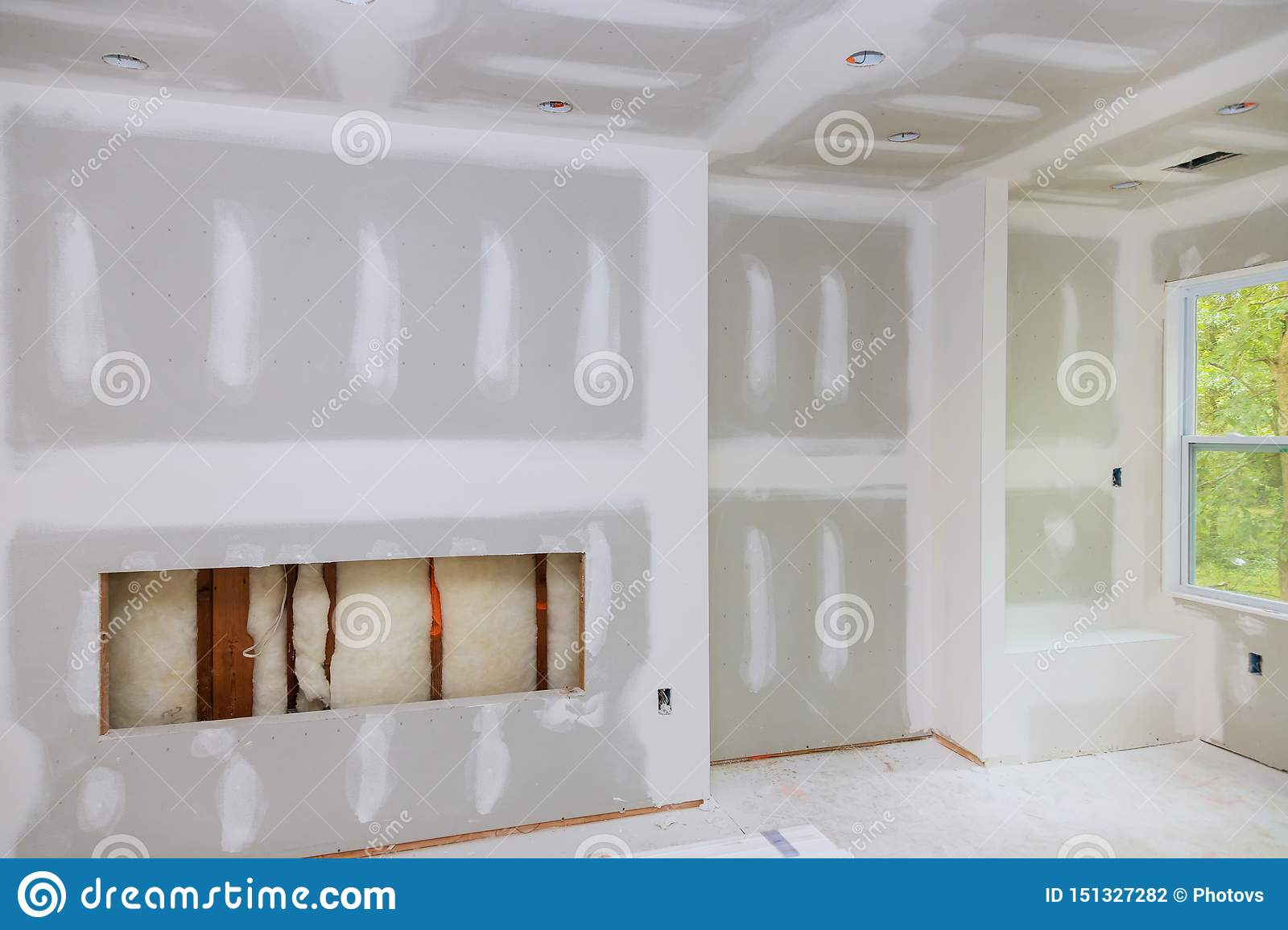 House Under Construction Gypsum Wall Is Under Construction Stock Photo Image Of Building Estate 151327282