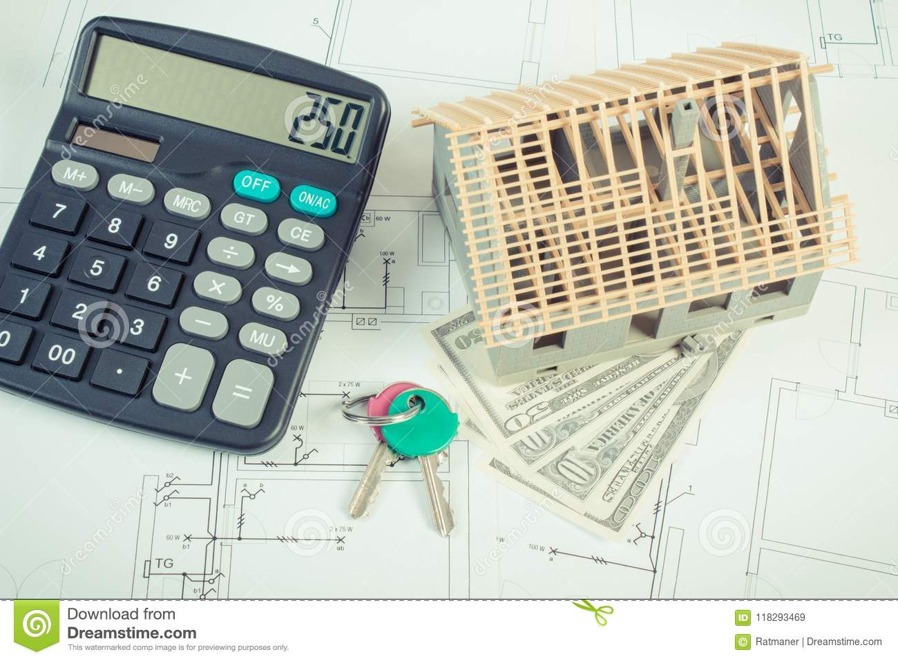 House Under Construction Keys Calculator And Currencies Dollar On Electrical Diagram Building Drawings Diagrams