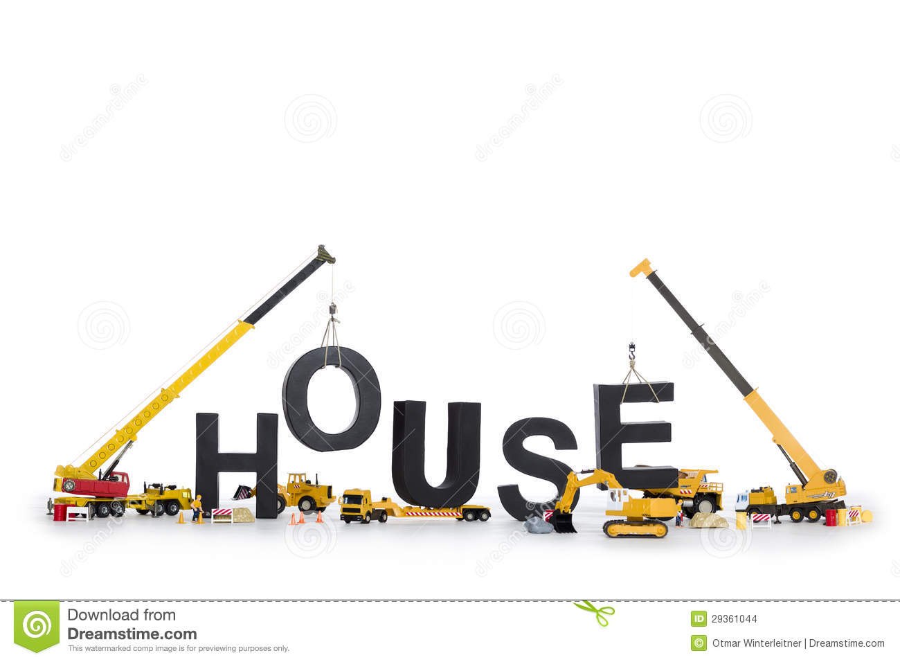 House Under Construction Machines Building House Stock