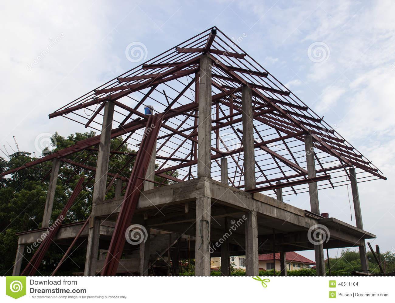 House under construction stock photo image of metal for Houses that can be built for under 150k