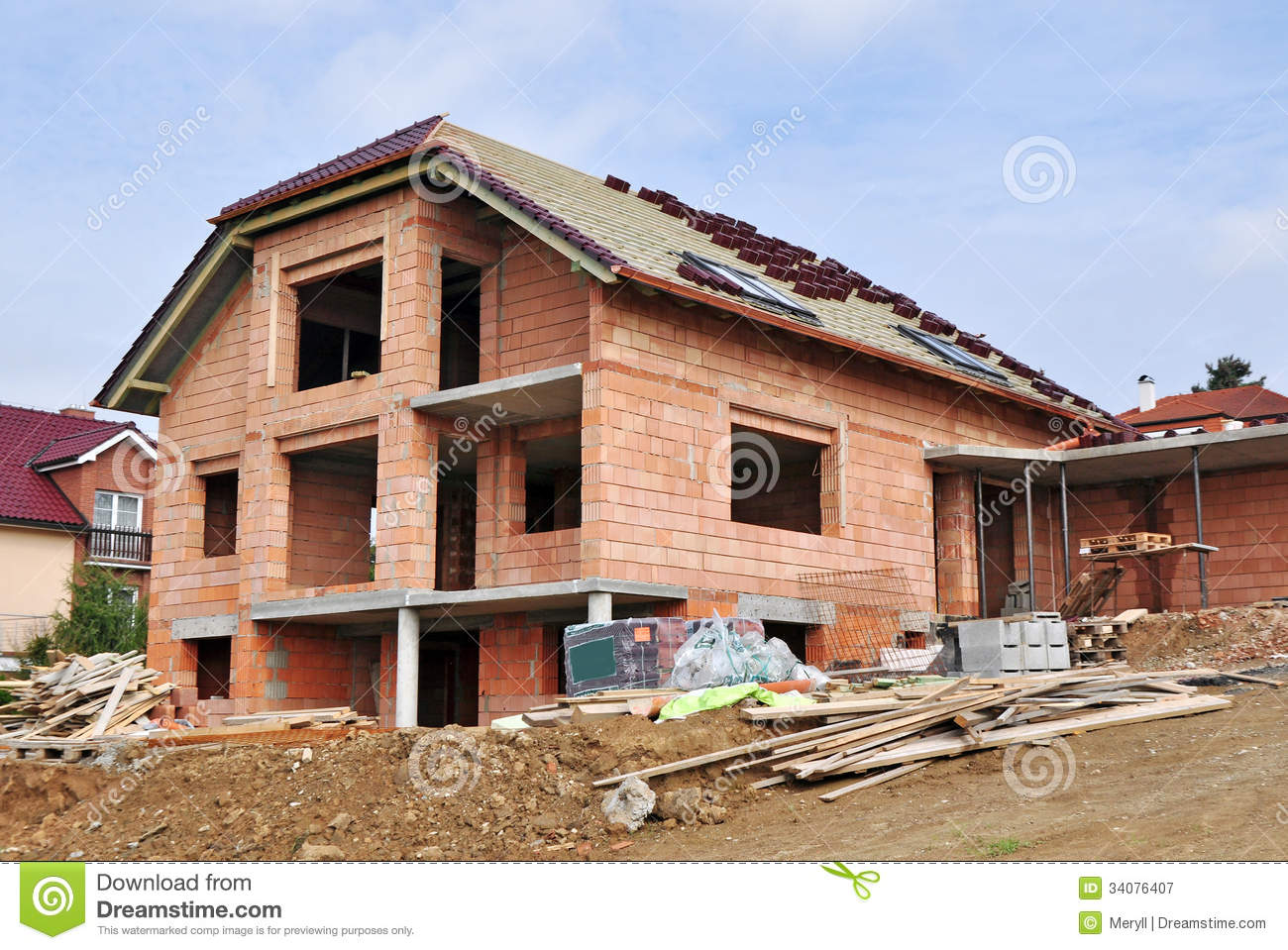 House under construction stock image image of roof for Free home builder