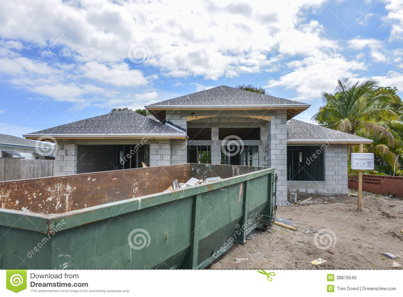 House under construction stock image image of florida for Cinder block house construction