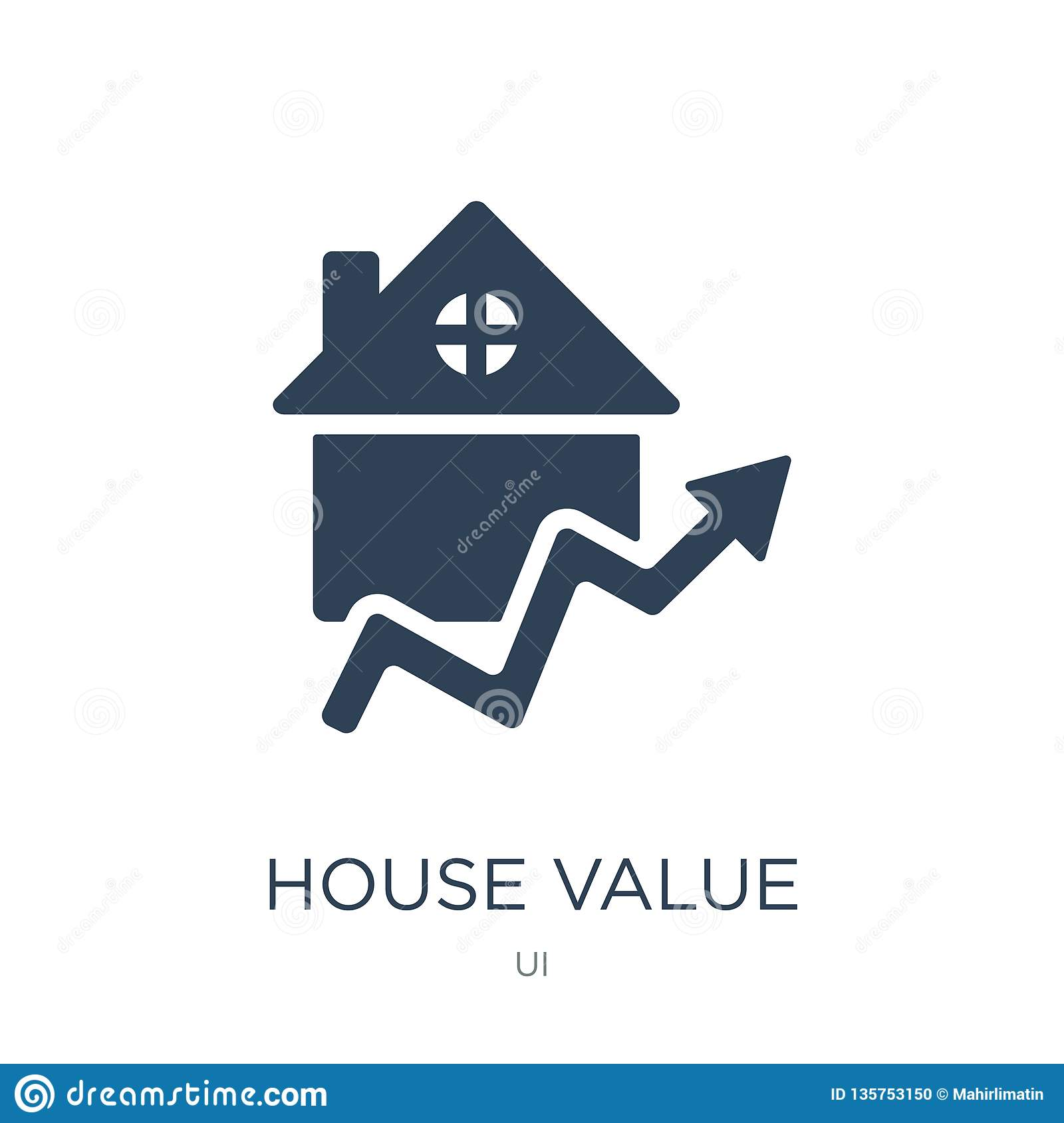 house value icon in trendy design style. house value icon isolated on white background. house value vector icon simple and modern