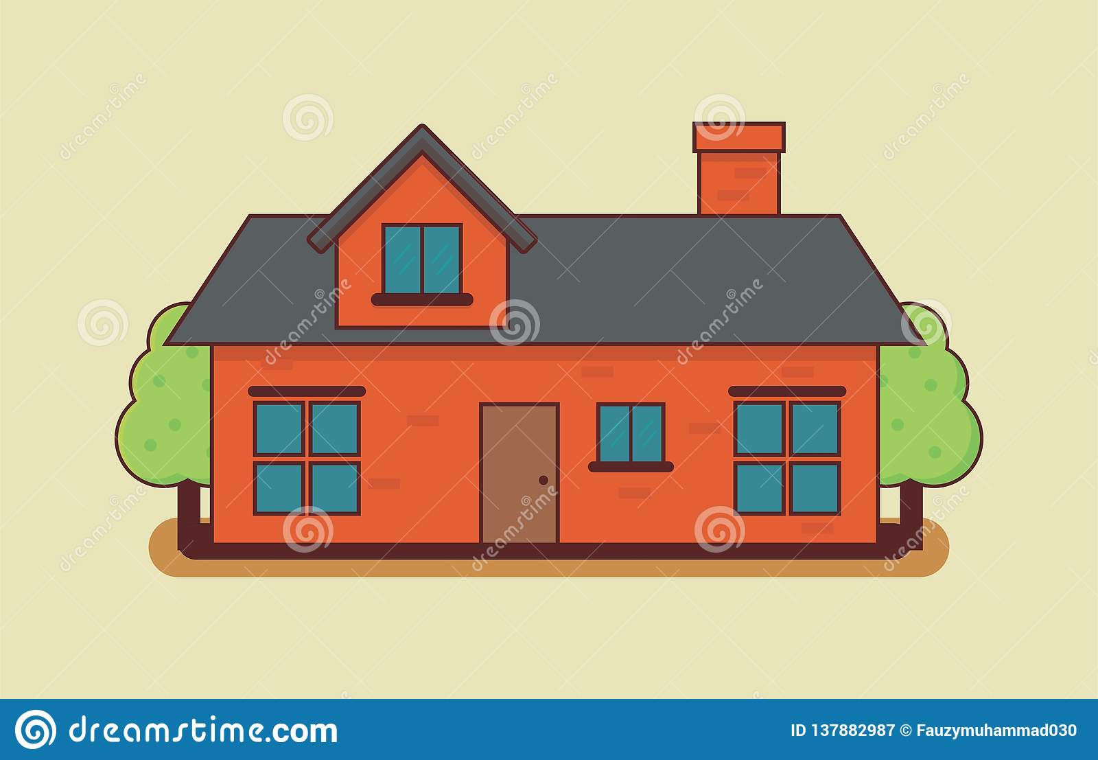 House Vector Illustration On Isolated Background Stock