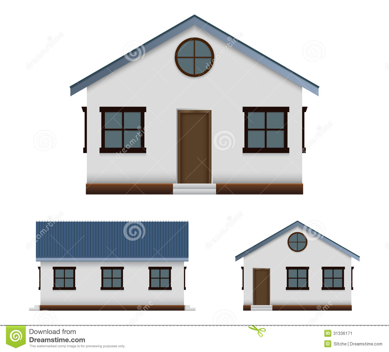 House vector image set in three point of view stock for Building houses with side views