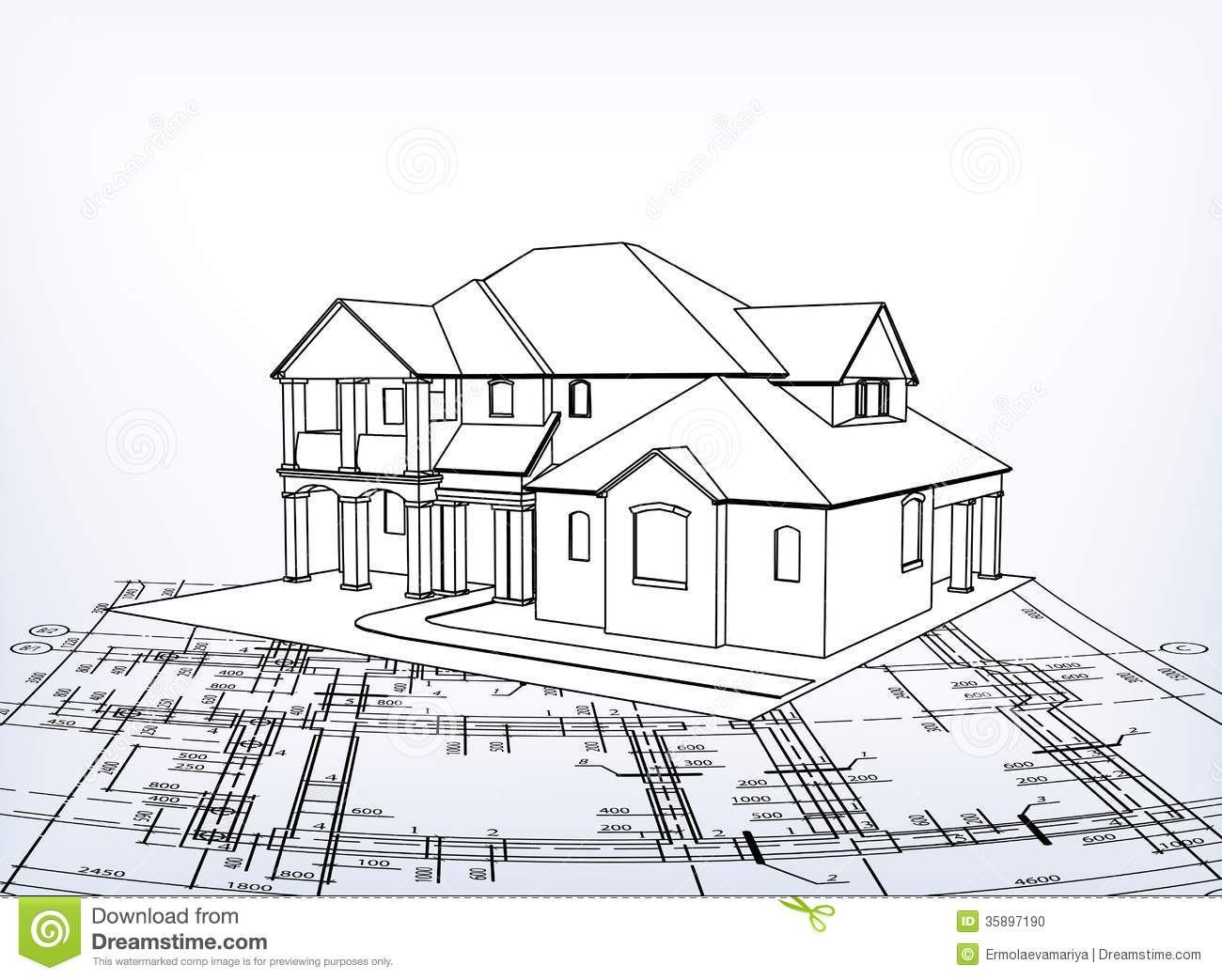 House vector technical draw stock photo image 35897190 3d house drawing