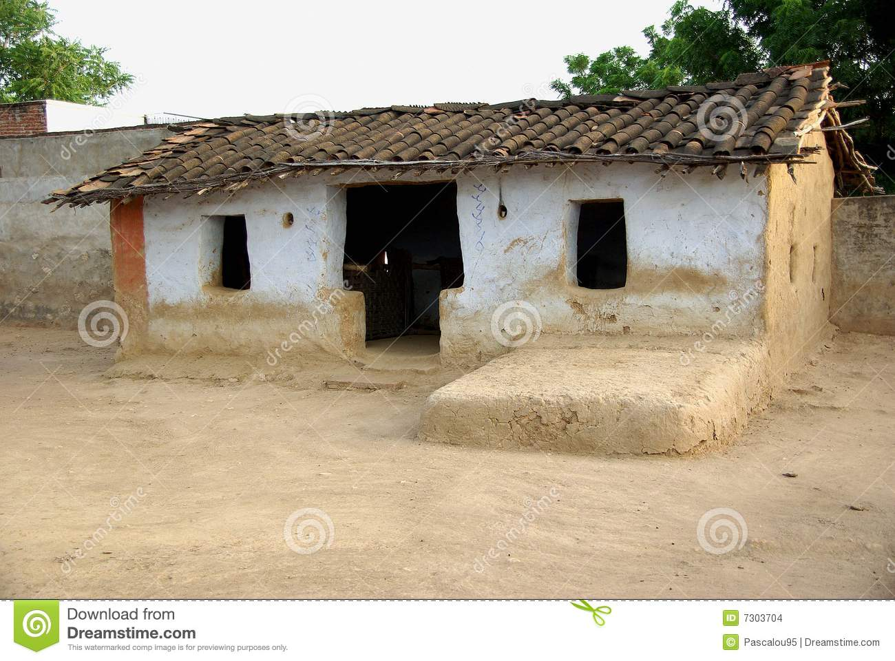 House In A Village Rajasthan Stock Photo Image 7303704