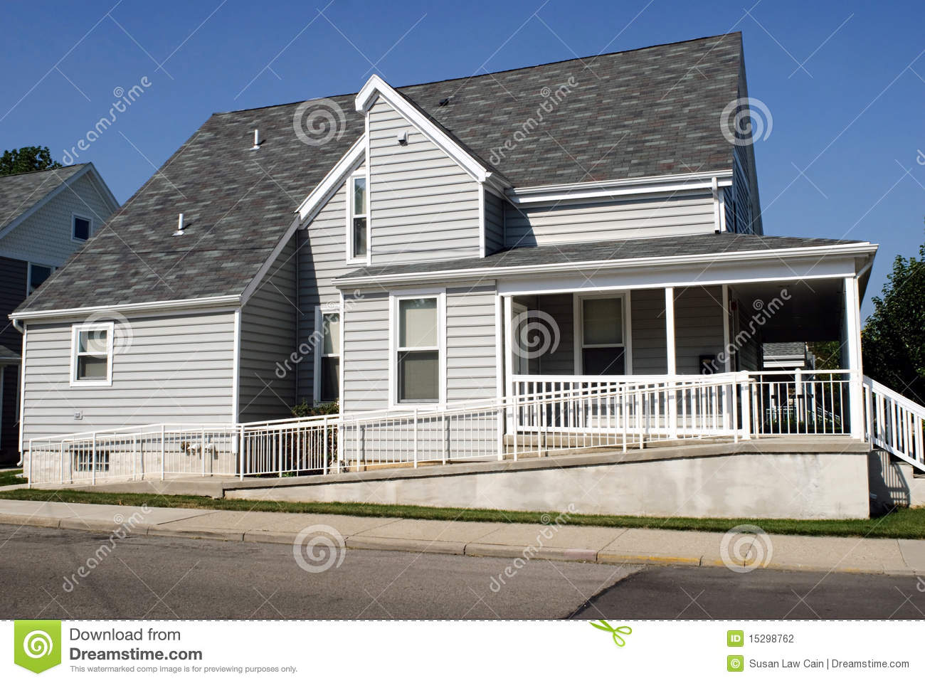 house with wheelchair ramp stock photography