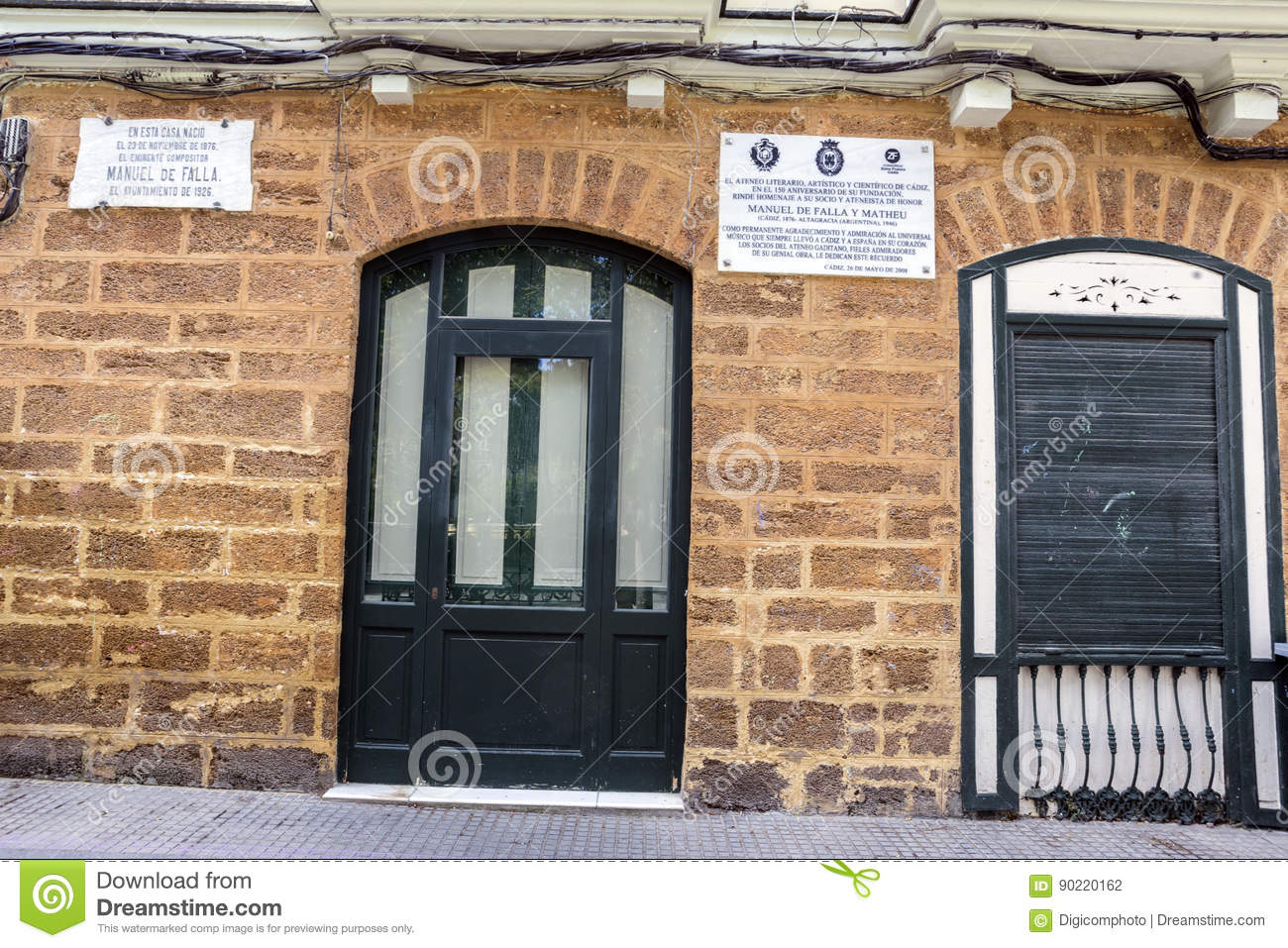 House where born the Spanish composer Manuel de Falla on 23 November 1876, registration indicates in marble indicates